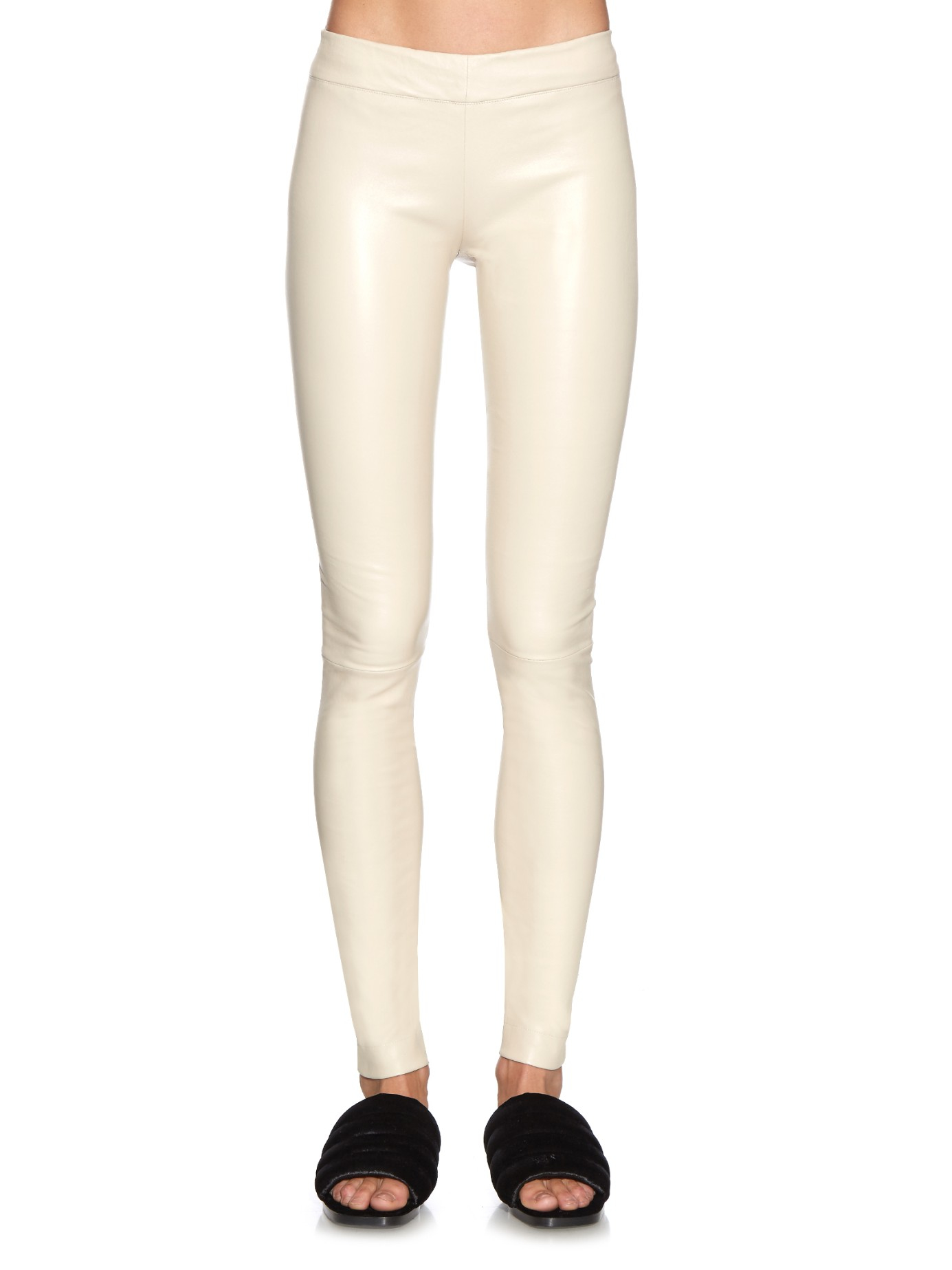 The row Moto Leather Leggings in Natural | Lyst
