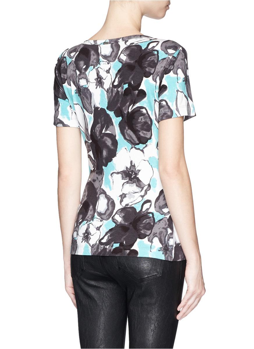 Lyst St John Watercolour Begonia Print Jersey T Shirt