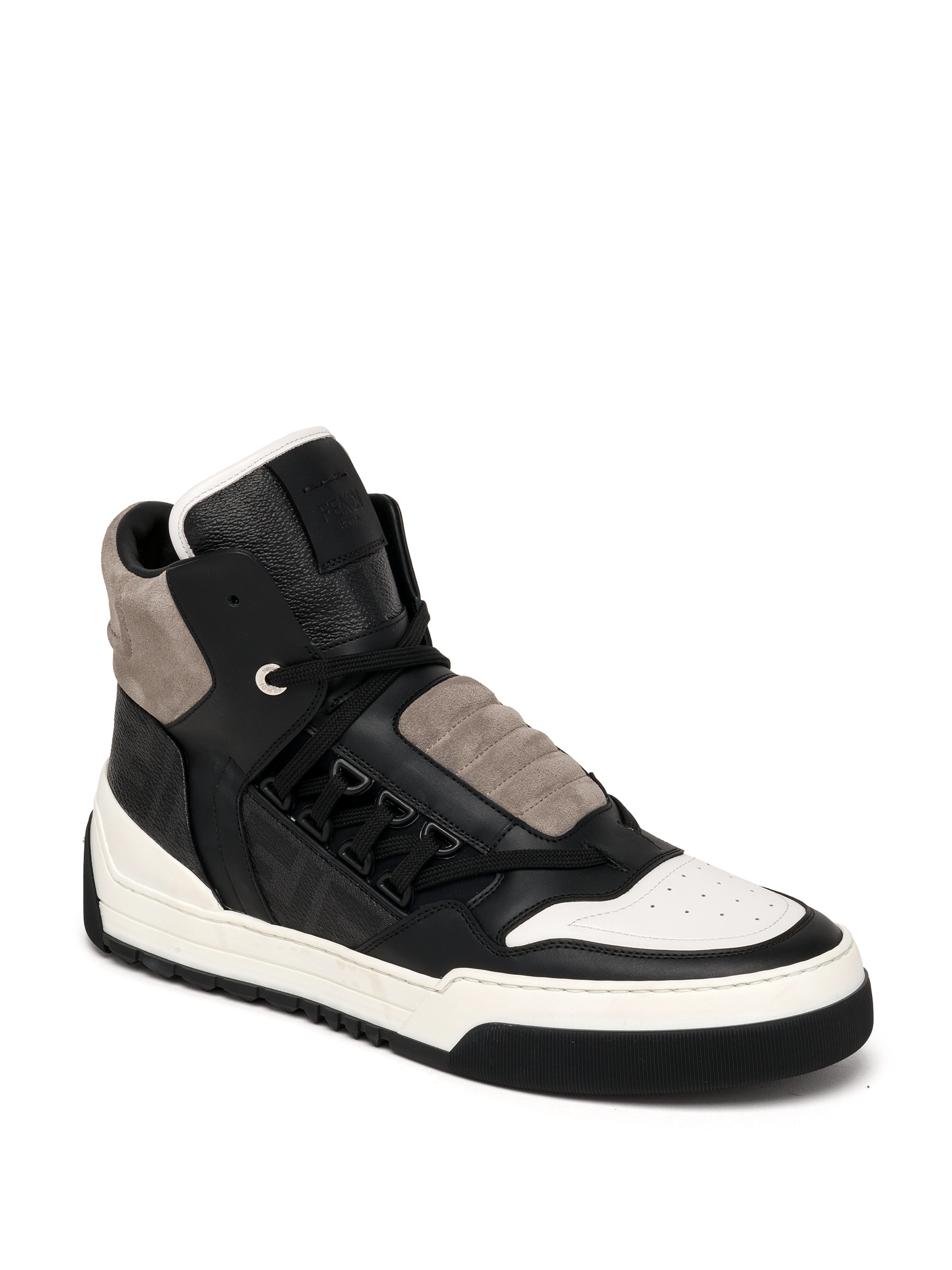 4d8c1b09 Fendi Black Zucca Paneled High-Top Sneakers for men