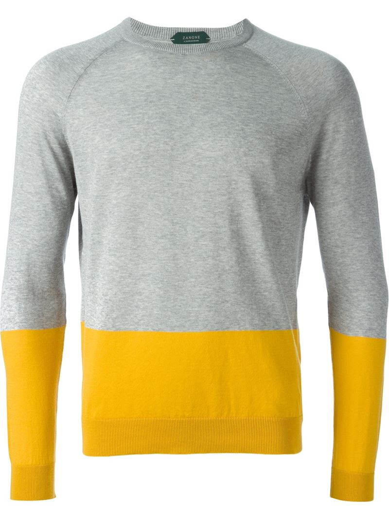 Zanone Colour Block Sweater in Gray for Men | Lyst