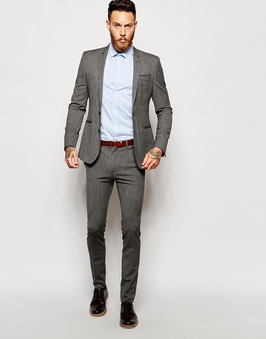 Asos Wedding Super Skinny Suit Trouser In Salt And Pepper in Gray ...
