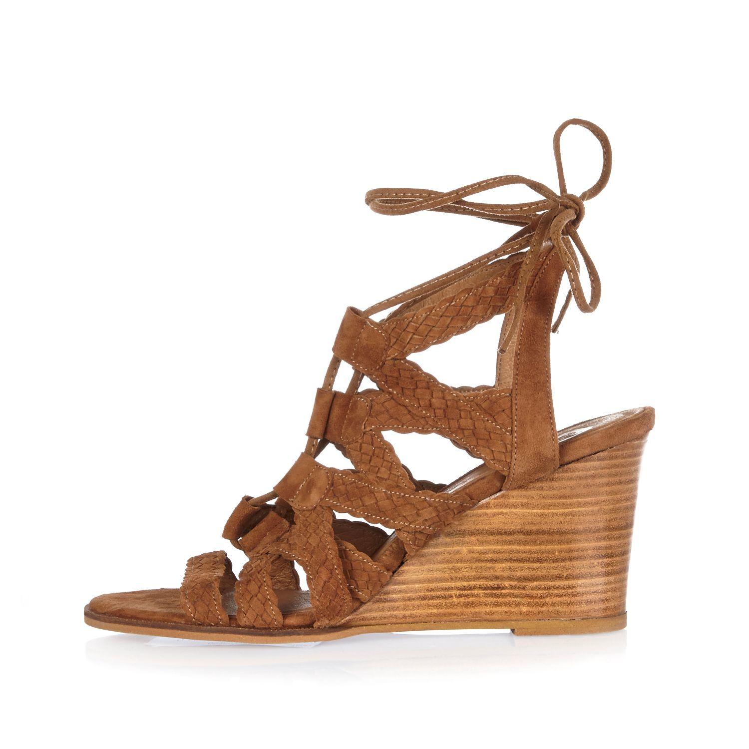 River Island Tan Suede Braided Lace Up Wedge Heels In