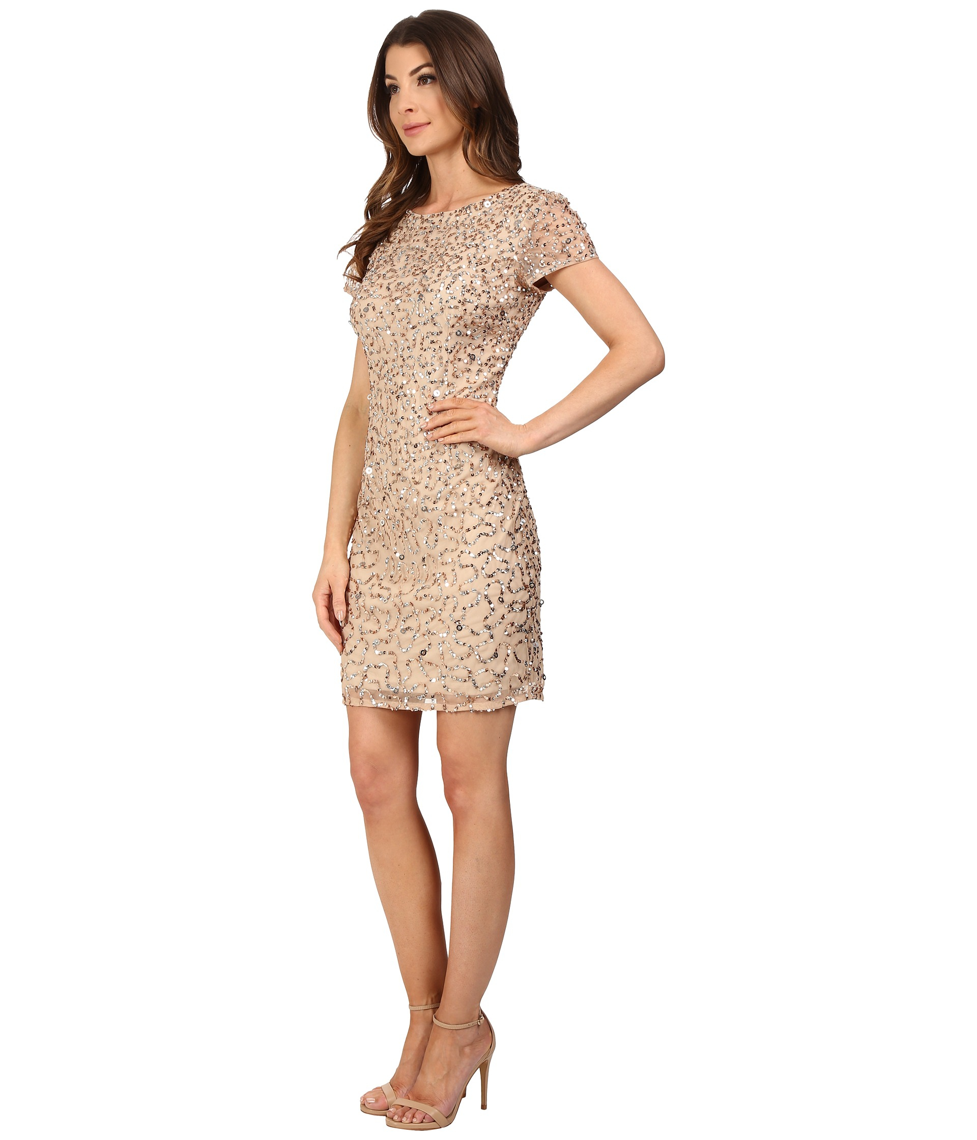 f11e596e3ad Lyst - Adrianna Papell Short Sleeve Beaded Cocktail Dress in Natural