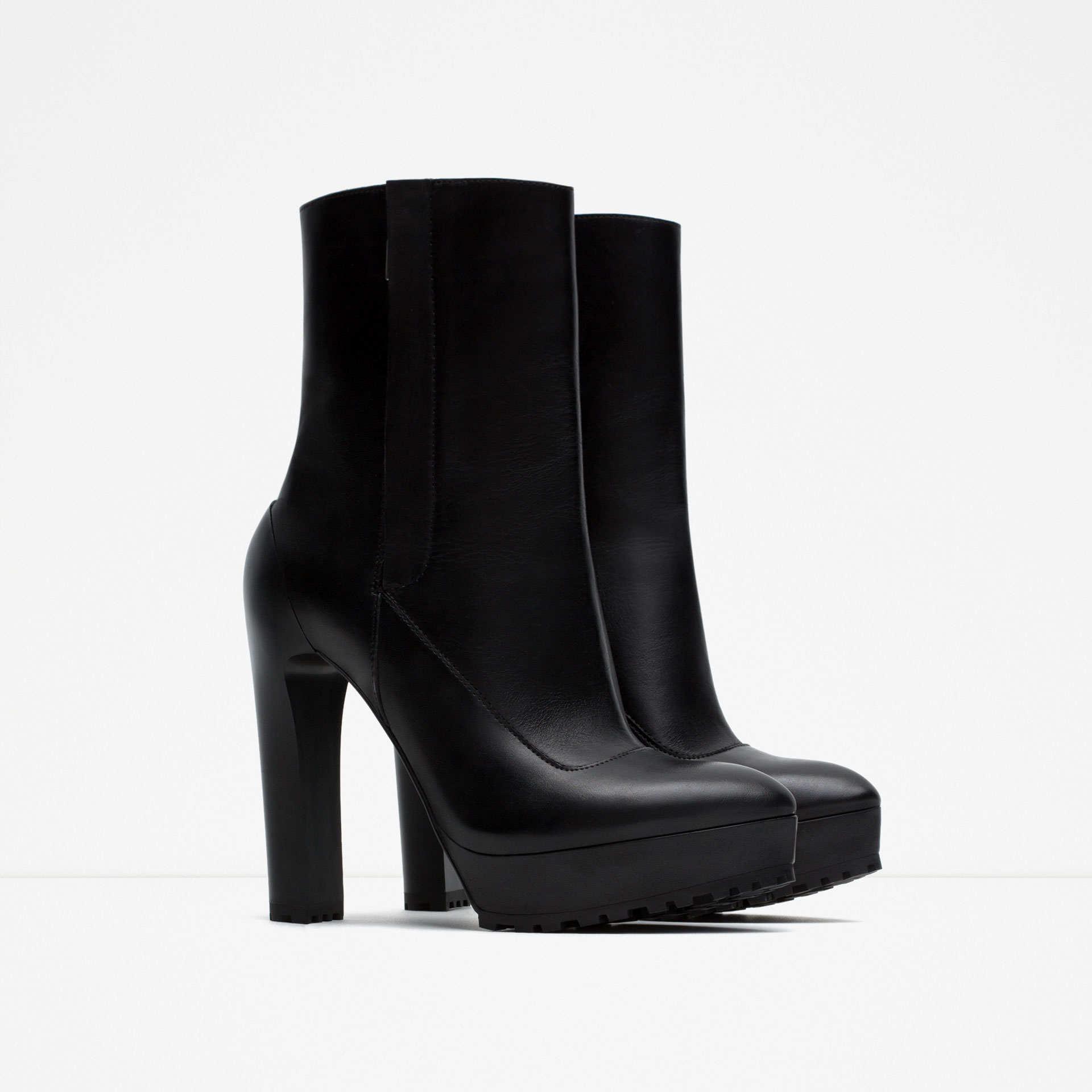 zara high heel leather ankle boots in black lyst