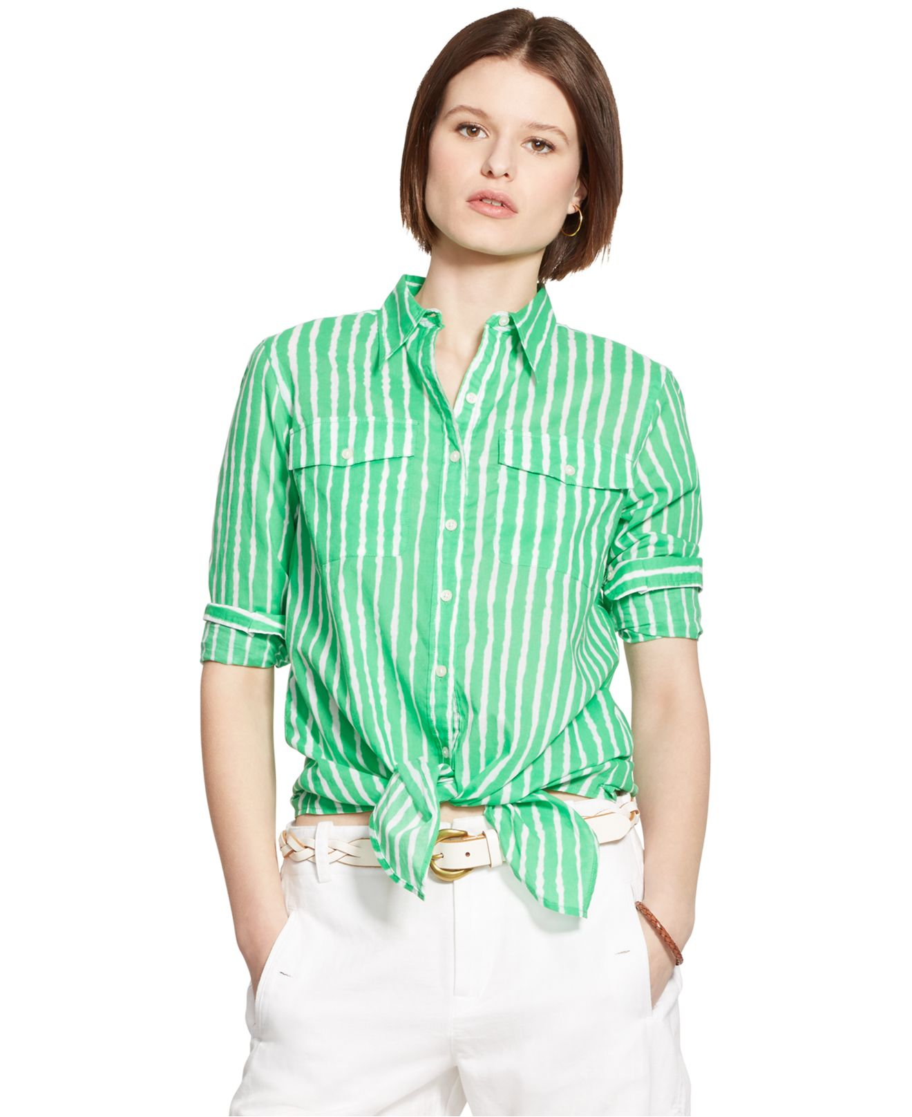 lyst lauren by ralph lauren striped tie front shirt in green. Black Bedroom Furniture Sets. Home Design Ideas