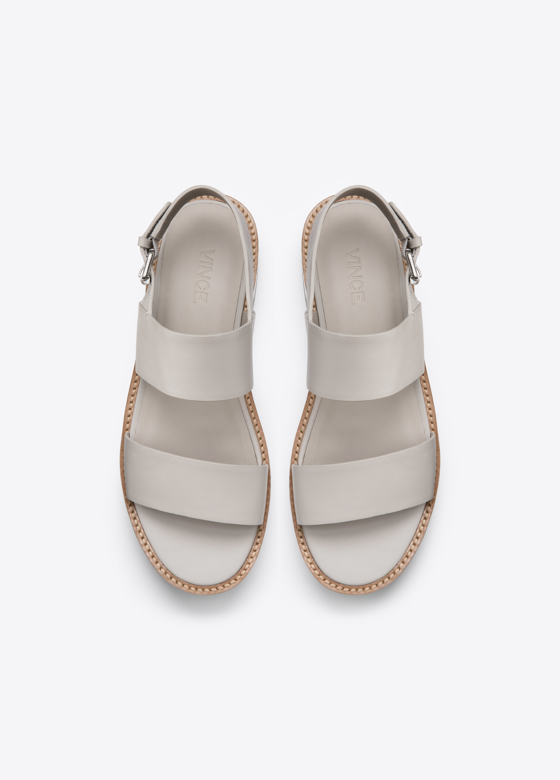 Lyst Vince Mana Leather Flatform Sandals In Gray