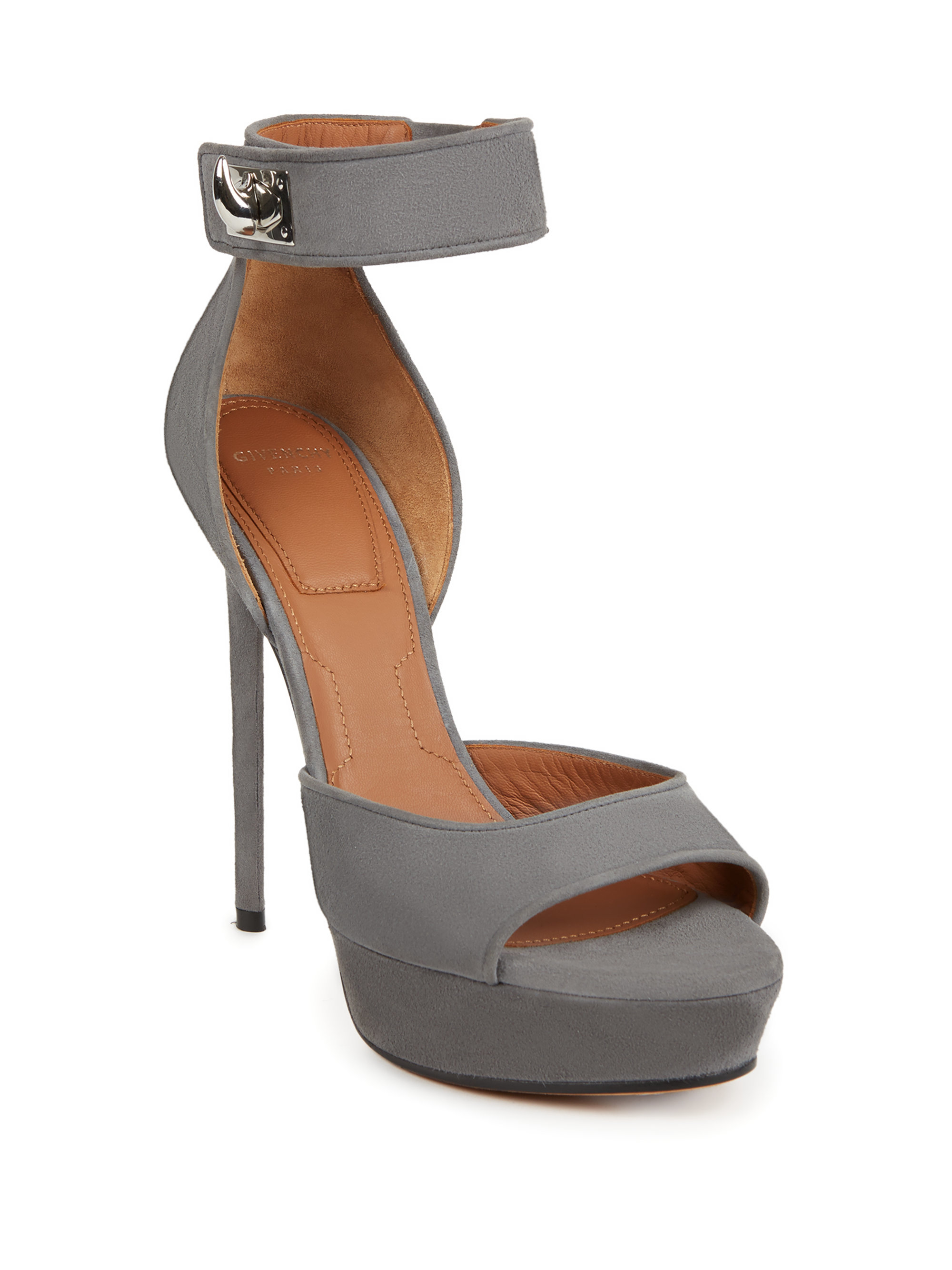 13f111d27aebe Givenchy Gray Suede Shark-lock Platform Sandals