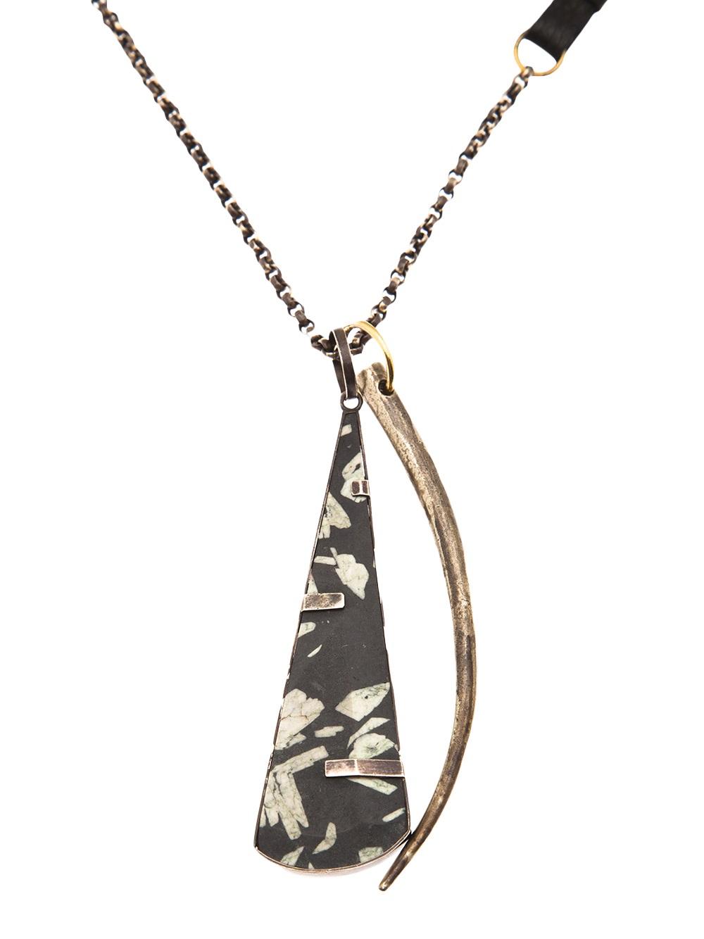 Beth Orduna Chinese Writing Stone Necklace in Metallic