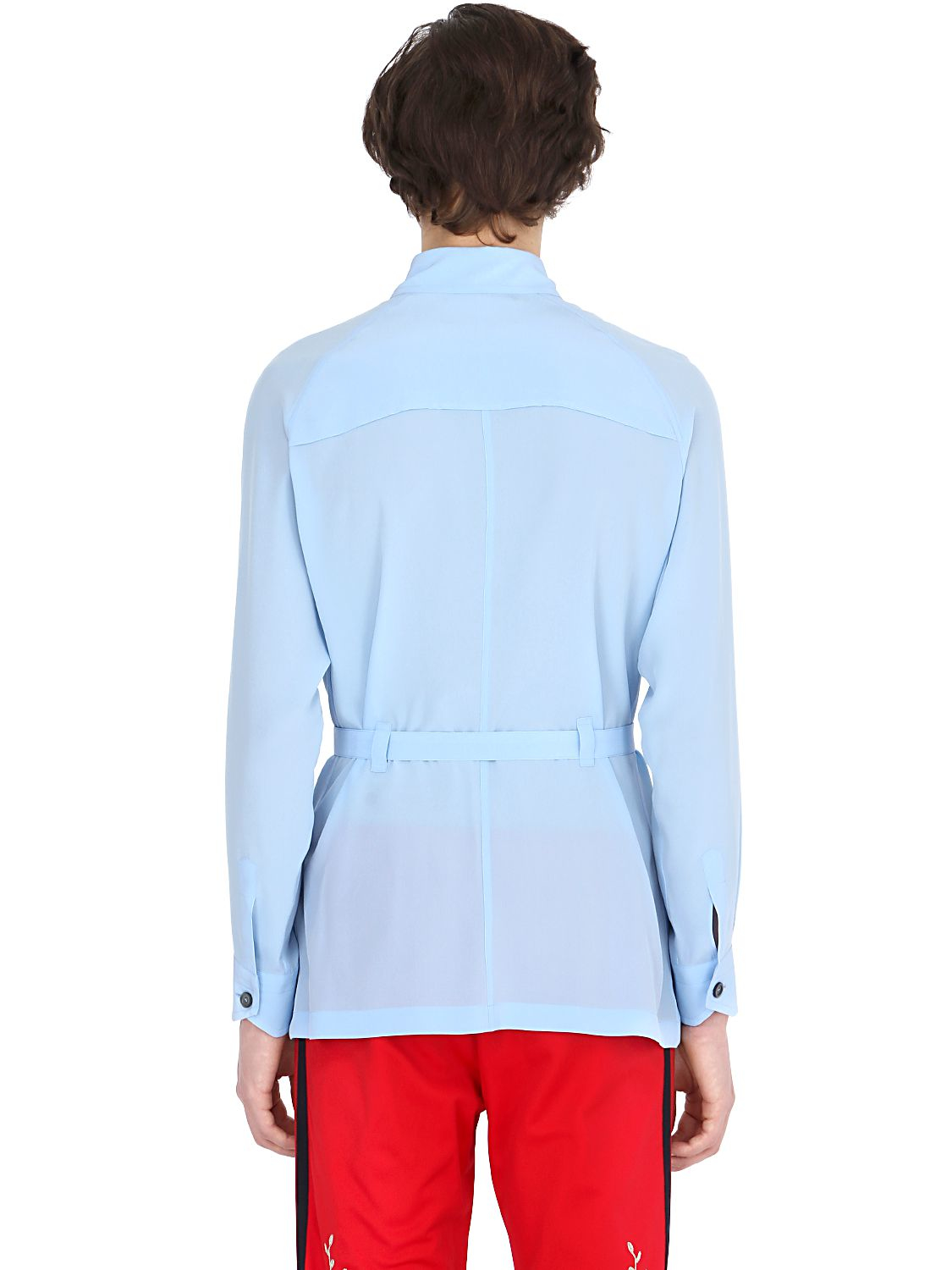Lyst Gucci Belted Silk Crepe Shirt In Blue For Men