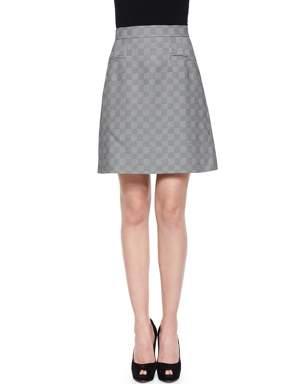 mcqueen glen plaid jacquard a line skirt in