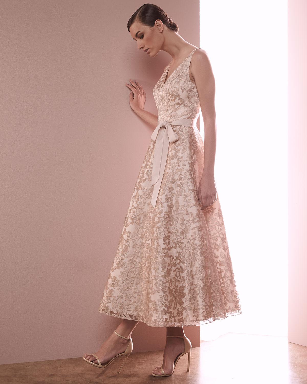 Tea Gown: Aidan Mattox Lace Tea Dress In Rose (Pink)