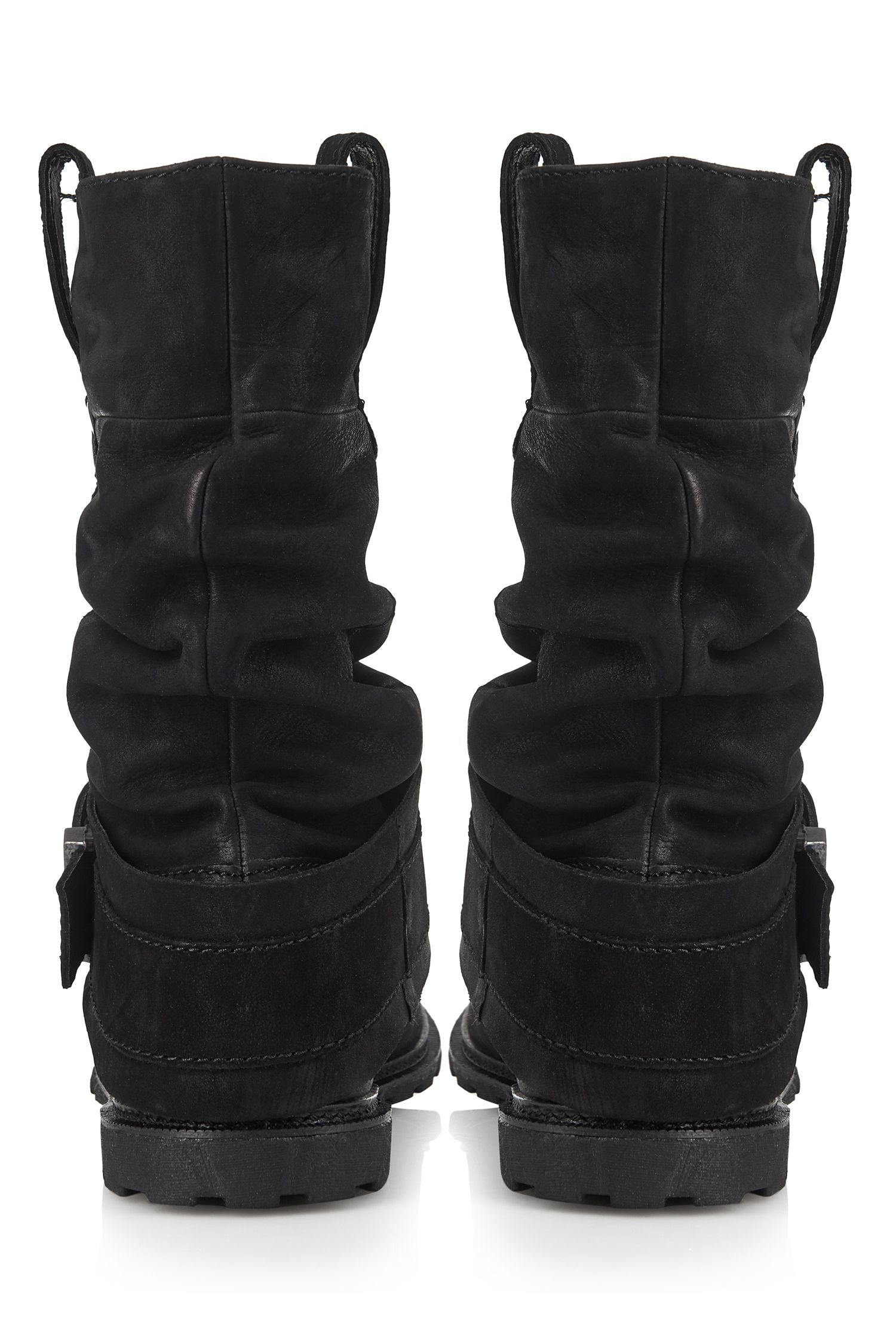Cara London Leather Slouchy Mid Boot in Black