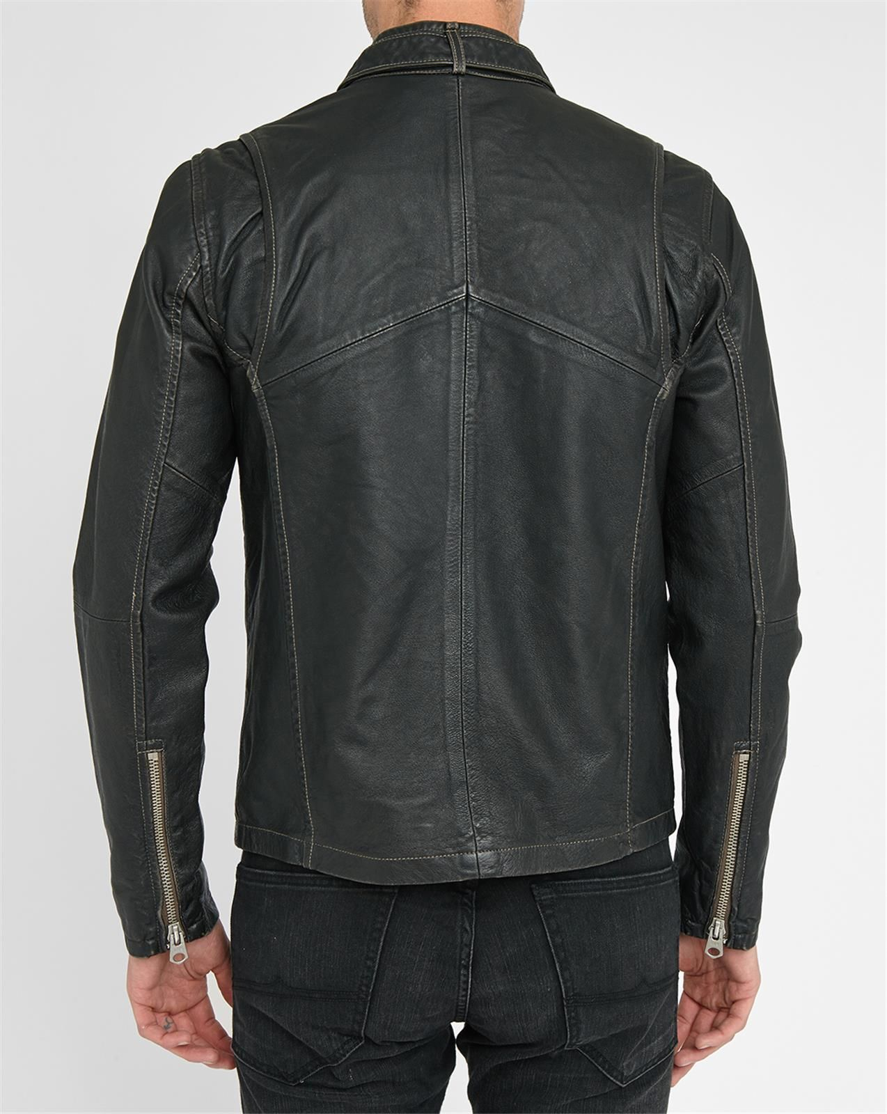 g star raw black engine leather zipped jacket with press stud collar in black for men lyst. Black Bedroom Furniture Sets. Home Design Ideas