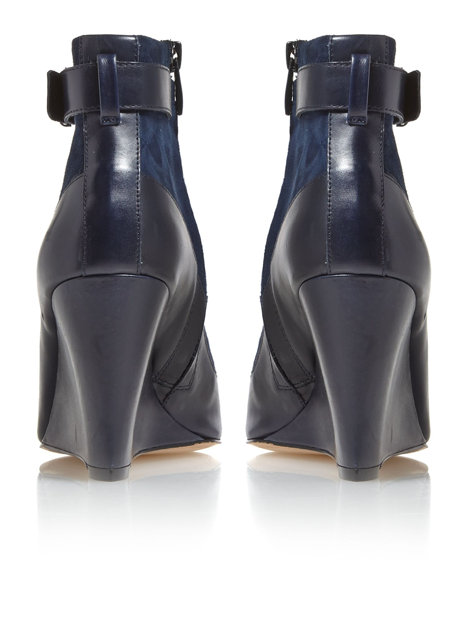 French Connection Suede Berne Wedge Ankle Boots in Navy (Blue)