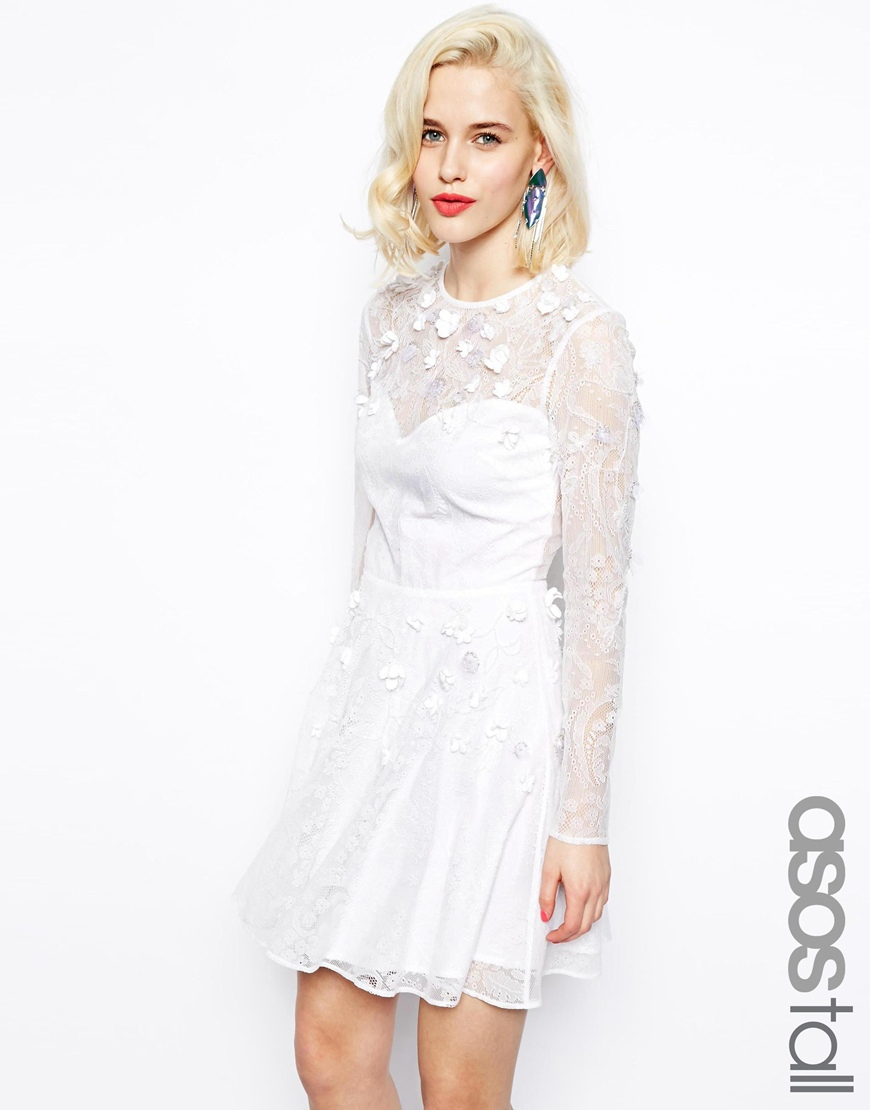 Lace Floral Embellished Skater Dress