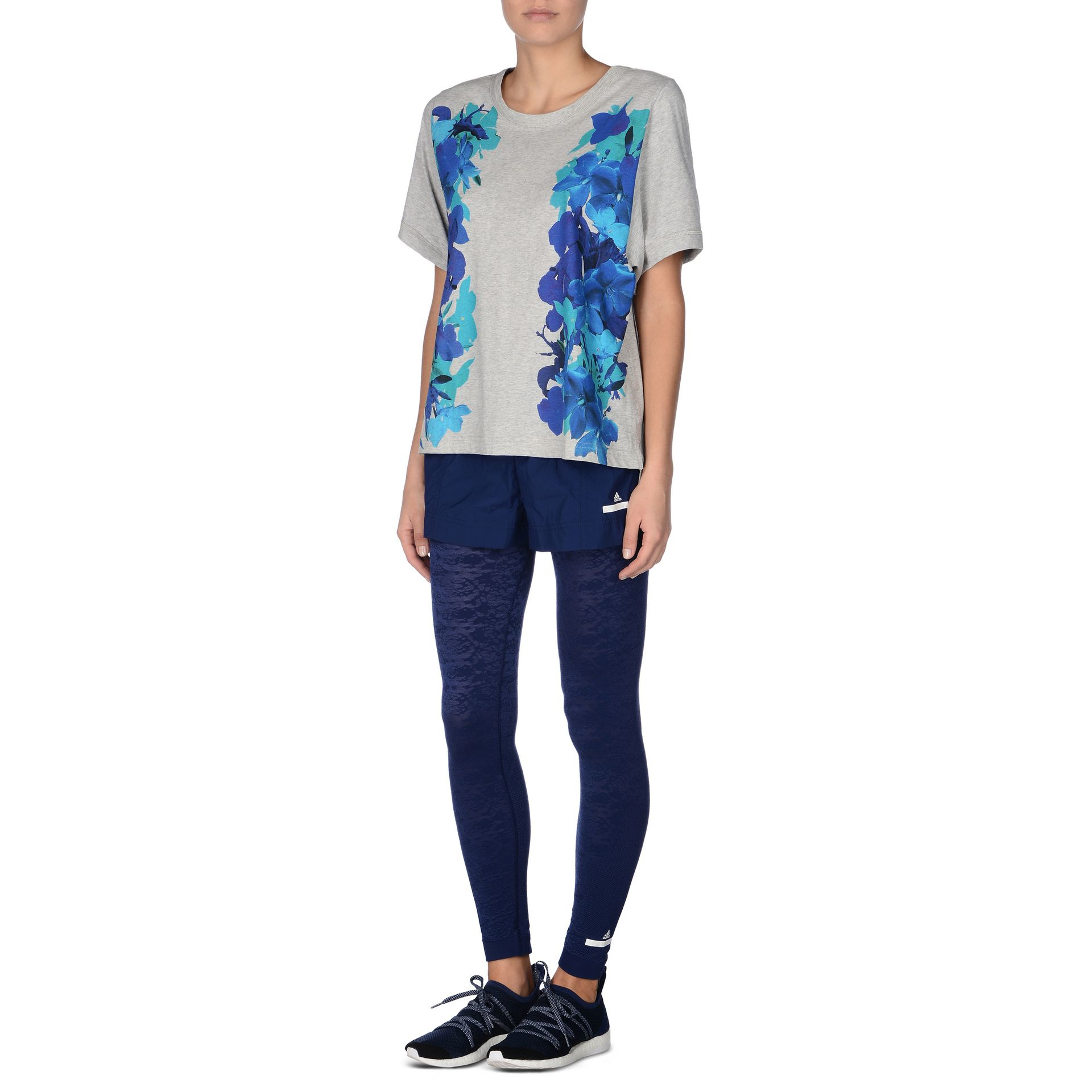 lyst adidas by stella mccartney blossom essentials t shirt in blue. Black Bedroom Furniture Sets. Home Design Ideas
