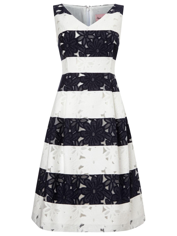 Phase Eight Blue Bea Stripe Lace Dress