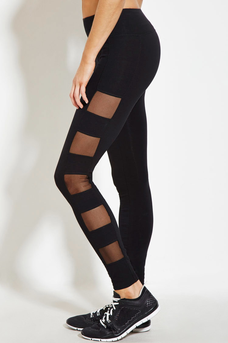 Forever 21 Mesh-paneled Athletic Leggings in Black | Lyst