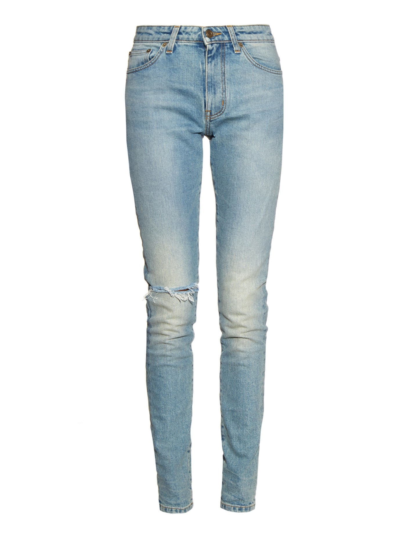 Saint laurent High-rise Distressed Skinny Jeans in Blue   Lyst
