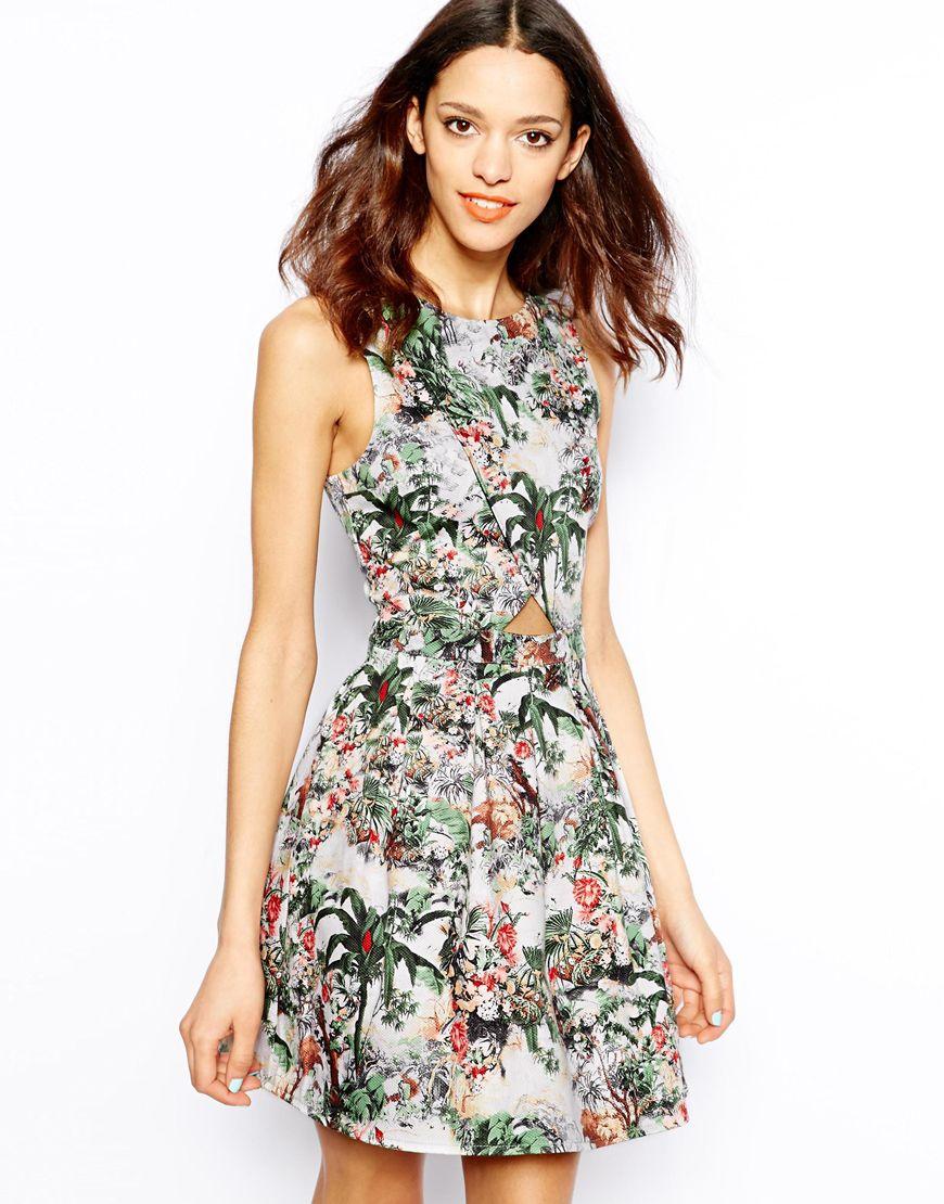 1c863538002e Lyst - Pull Bear Tropical Print Dress
