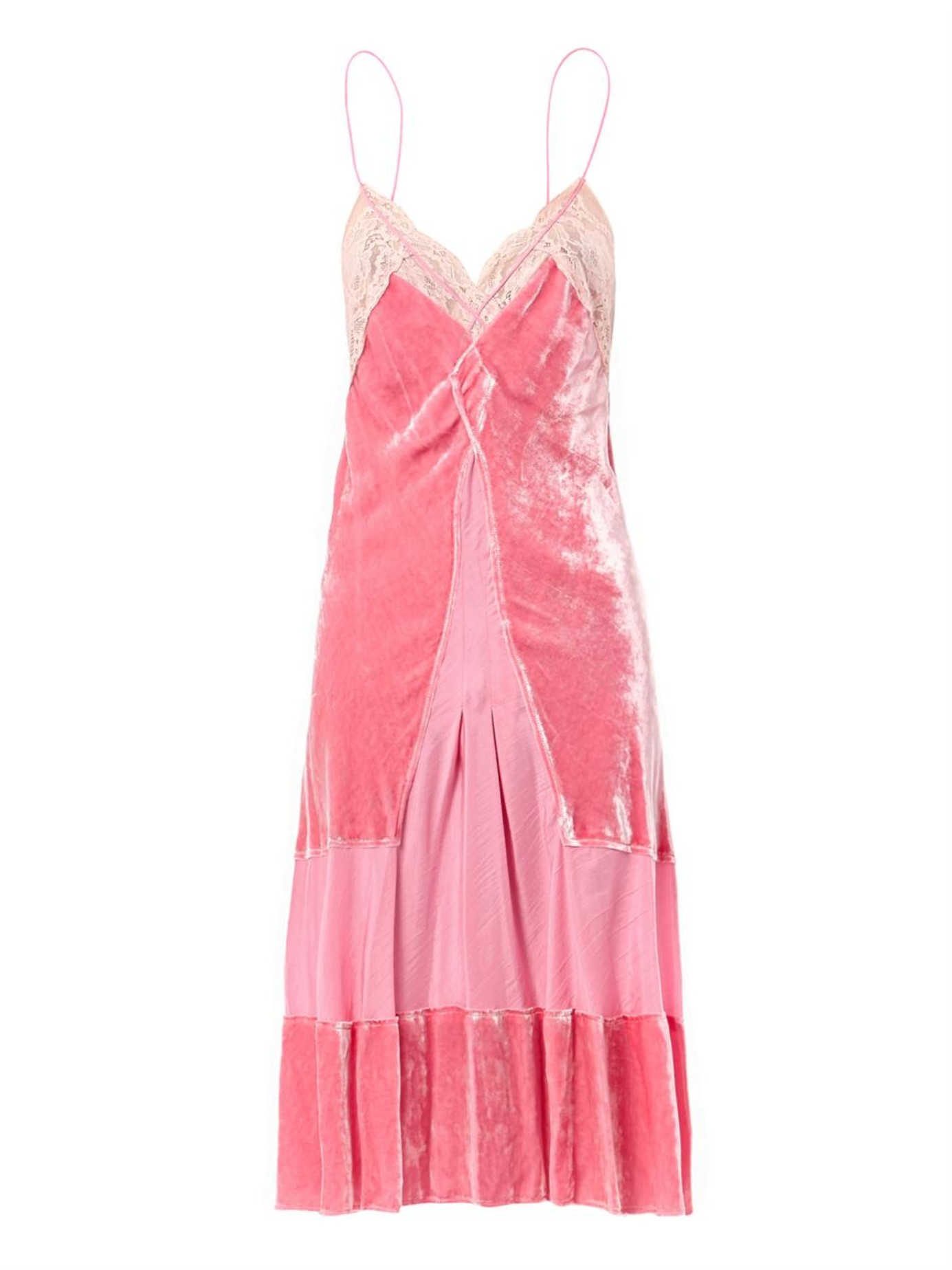 Nina Ricci Velvet And Lace Slip Dress In Pink Lyst