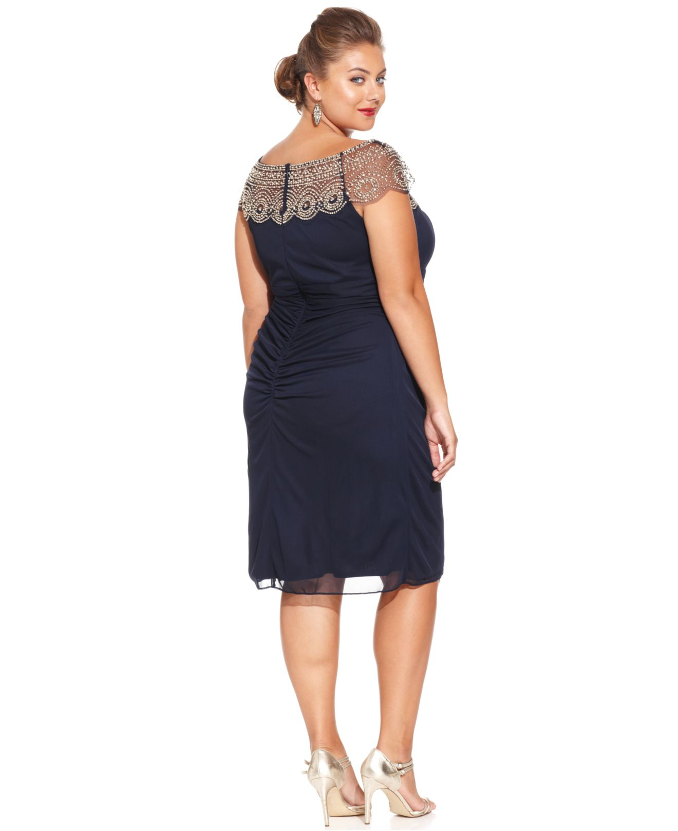 Plus Size Cap-Sleeve Beaded Dress
