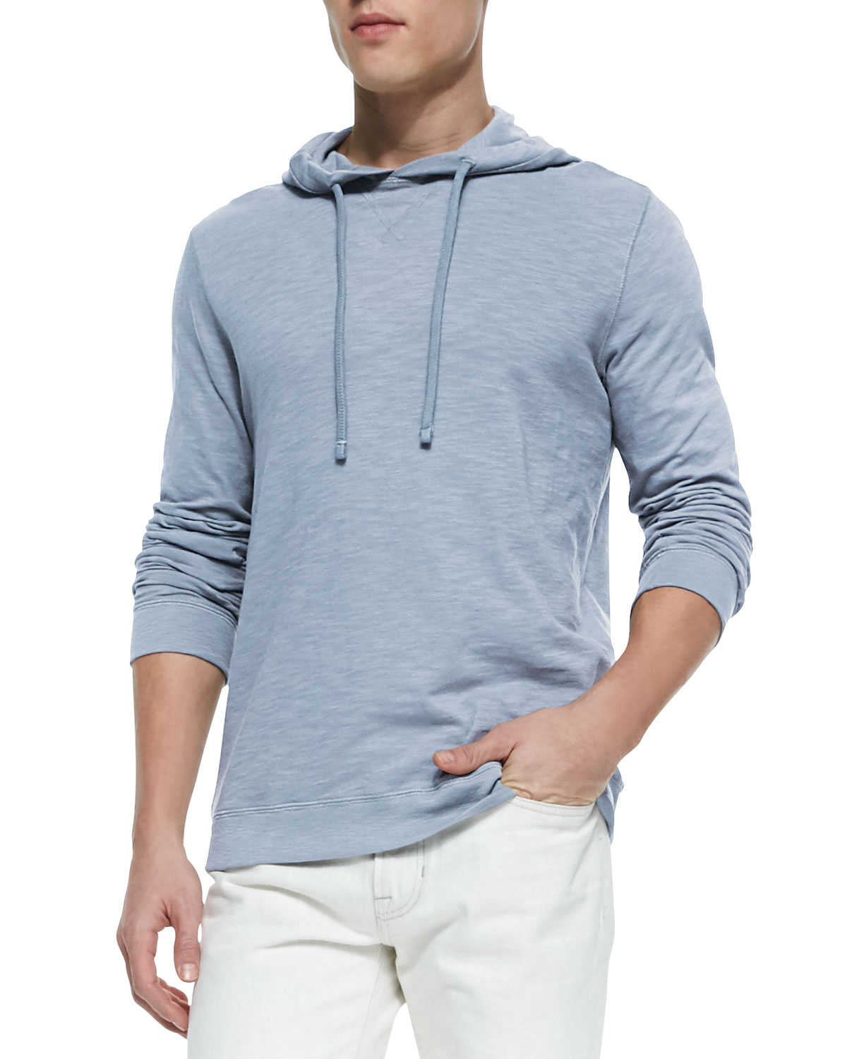 Vince Slub Knit Pullover Hoodie in Blue for Men | Lyst
