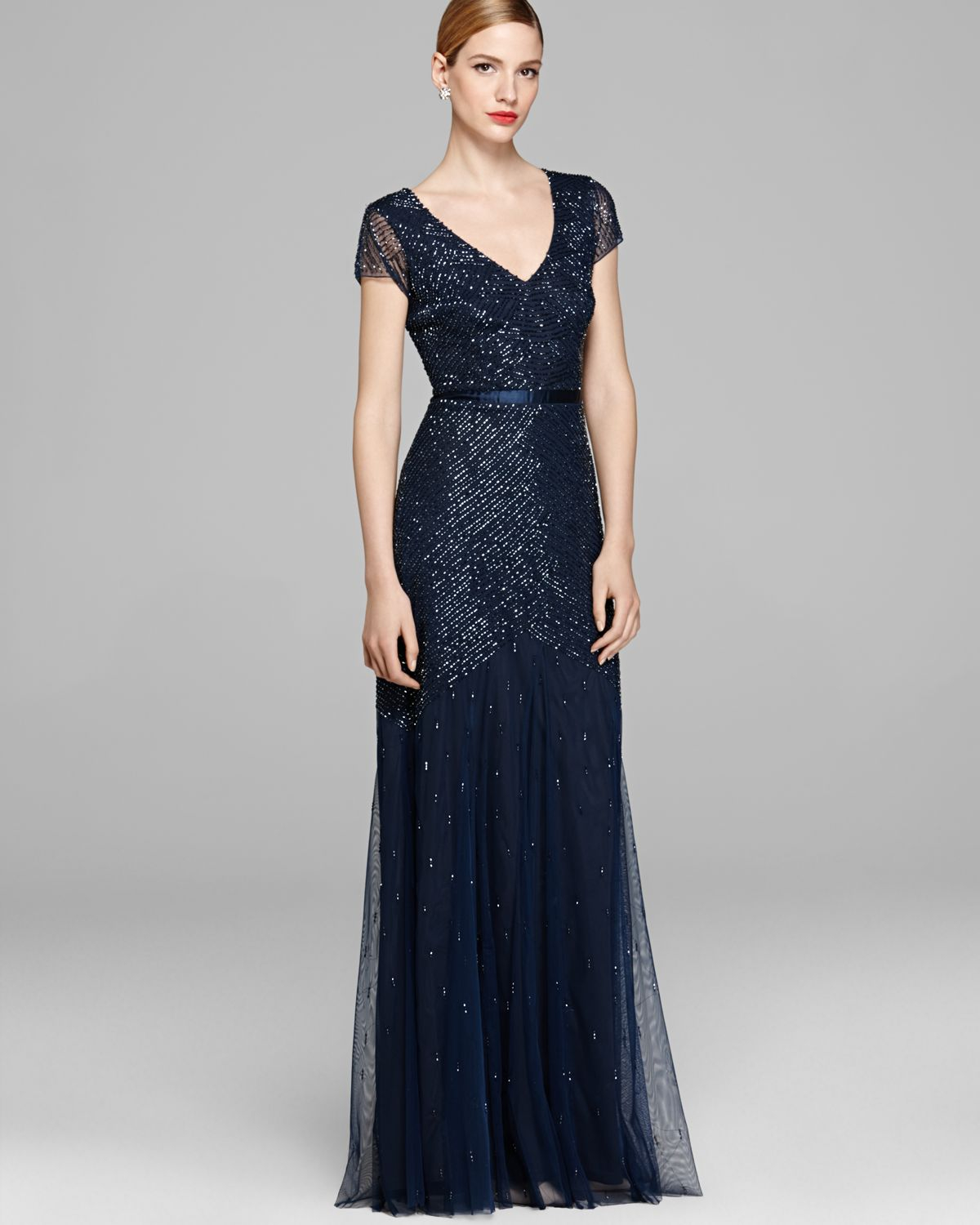 Adrianna Papell Gown Cap Sleeve Beaded in Blue - Lyst