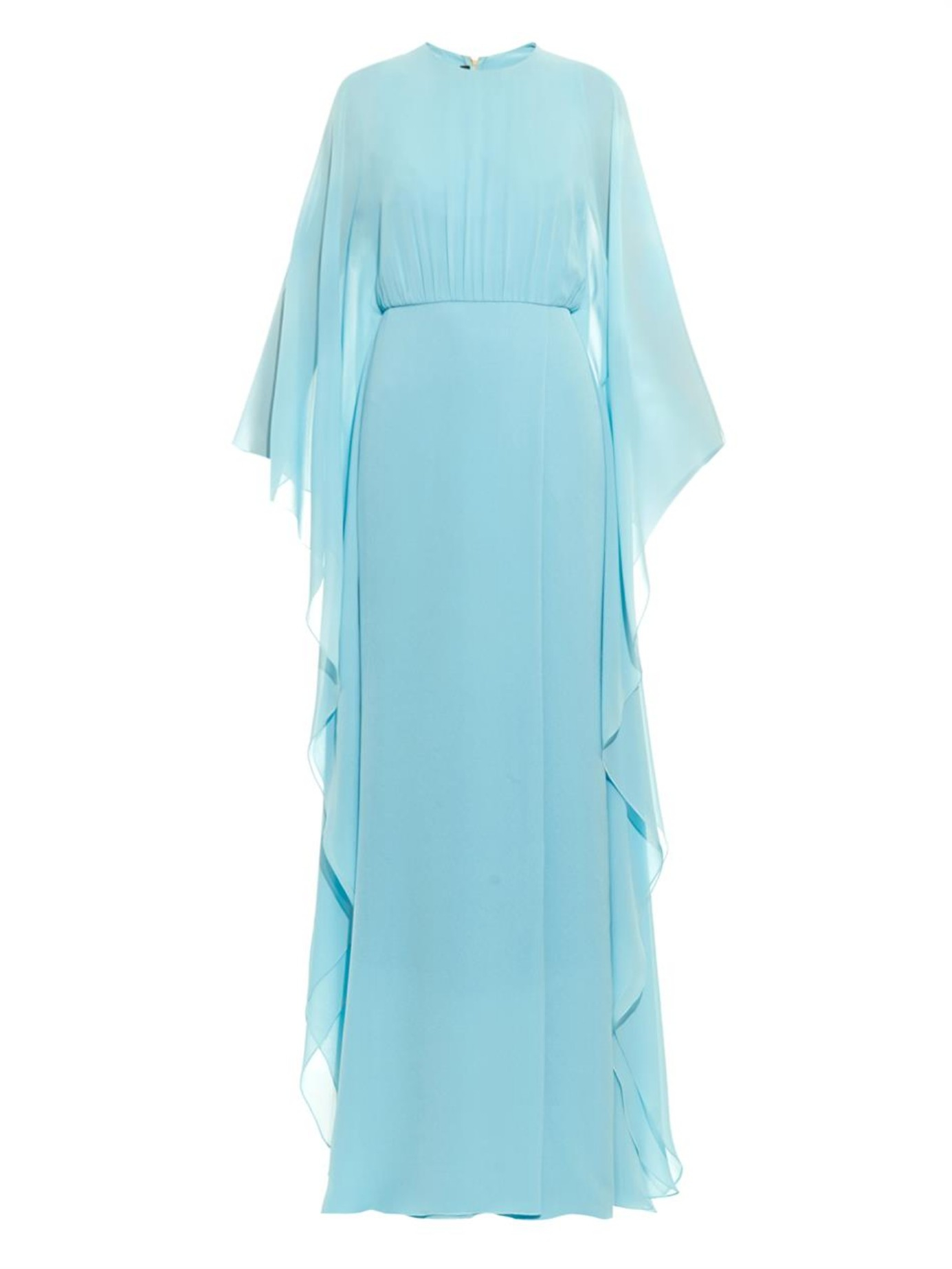 Elie Saab Butterfly Sleeved Silk Gown In Blue Light Blue