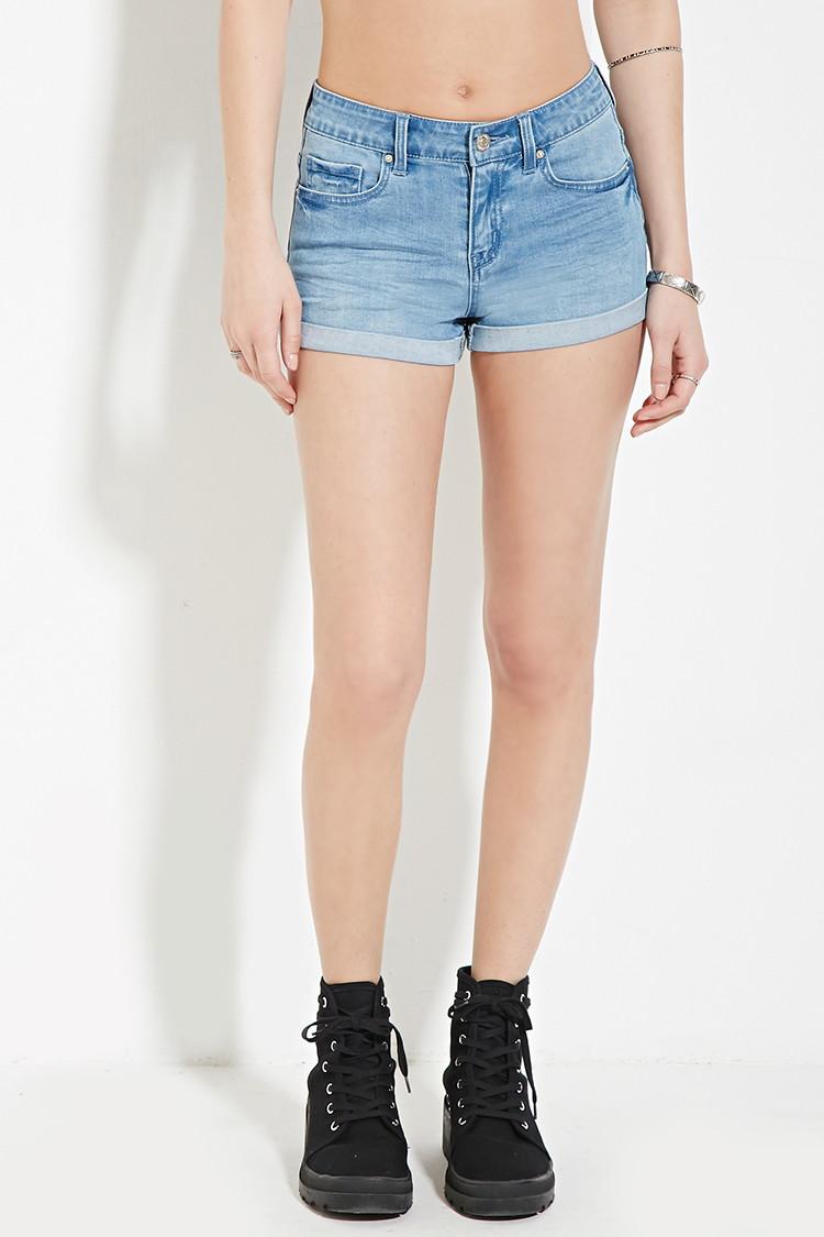 forever 21 cuffed denim shorts in blue lyst
