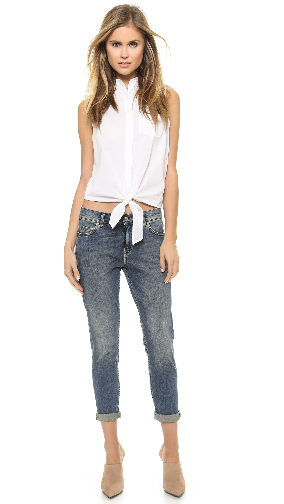 M.i.h jeans The Tomboy Cropped Jeans - Gritty Blue in Blue | Lyst