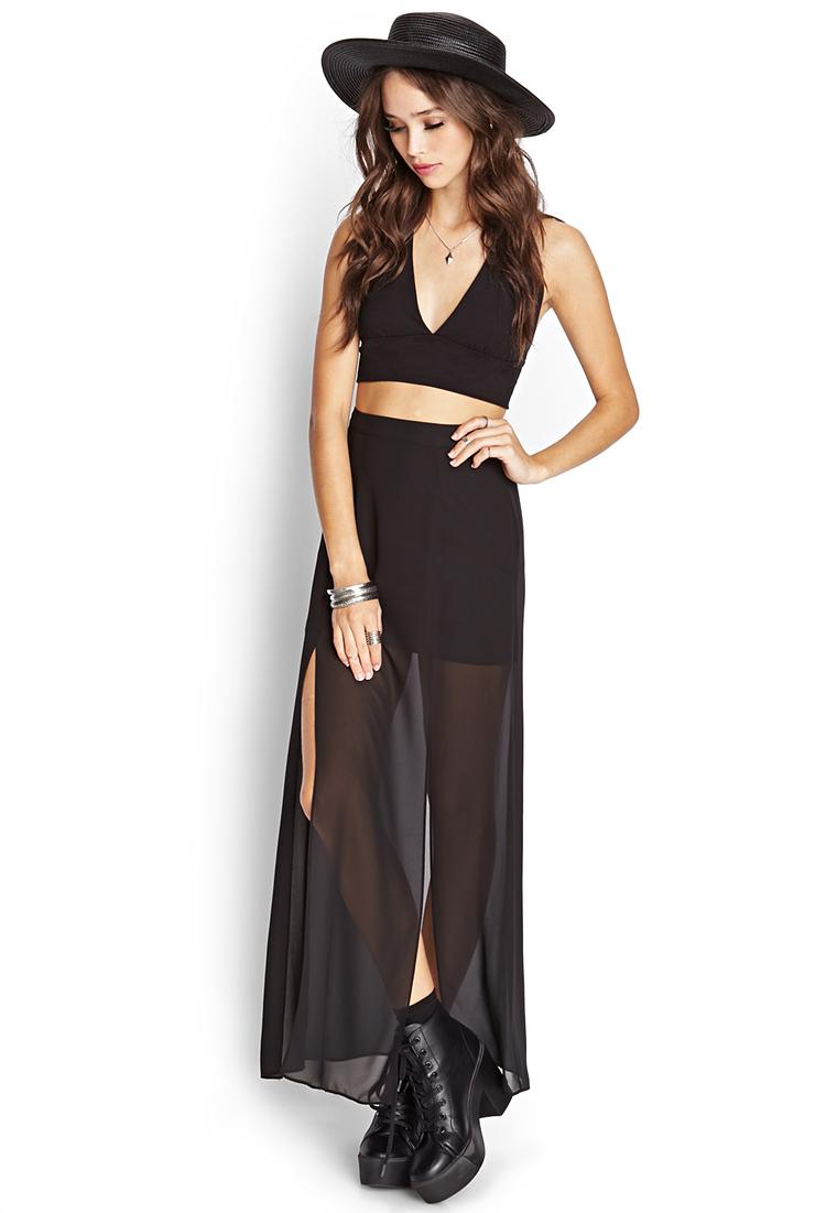 Forever 21 M-slit Sheer Maxi Skirt In Black