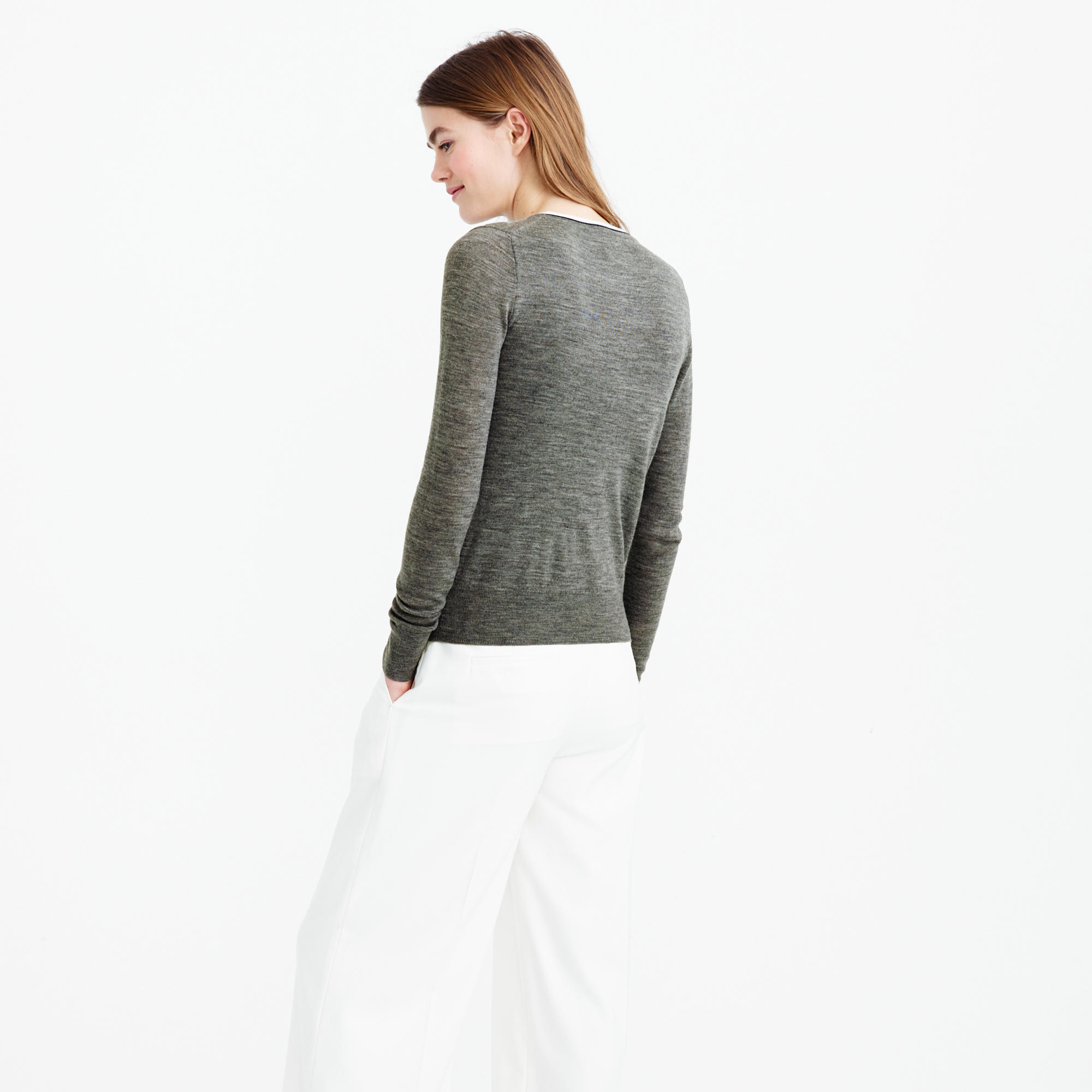 J.crew Tipped Lightweight Wool Jackie Cardigan Sweater in Green | Lyst
