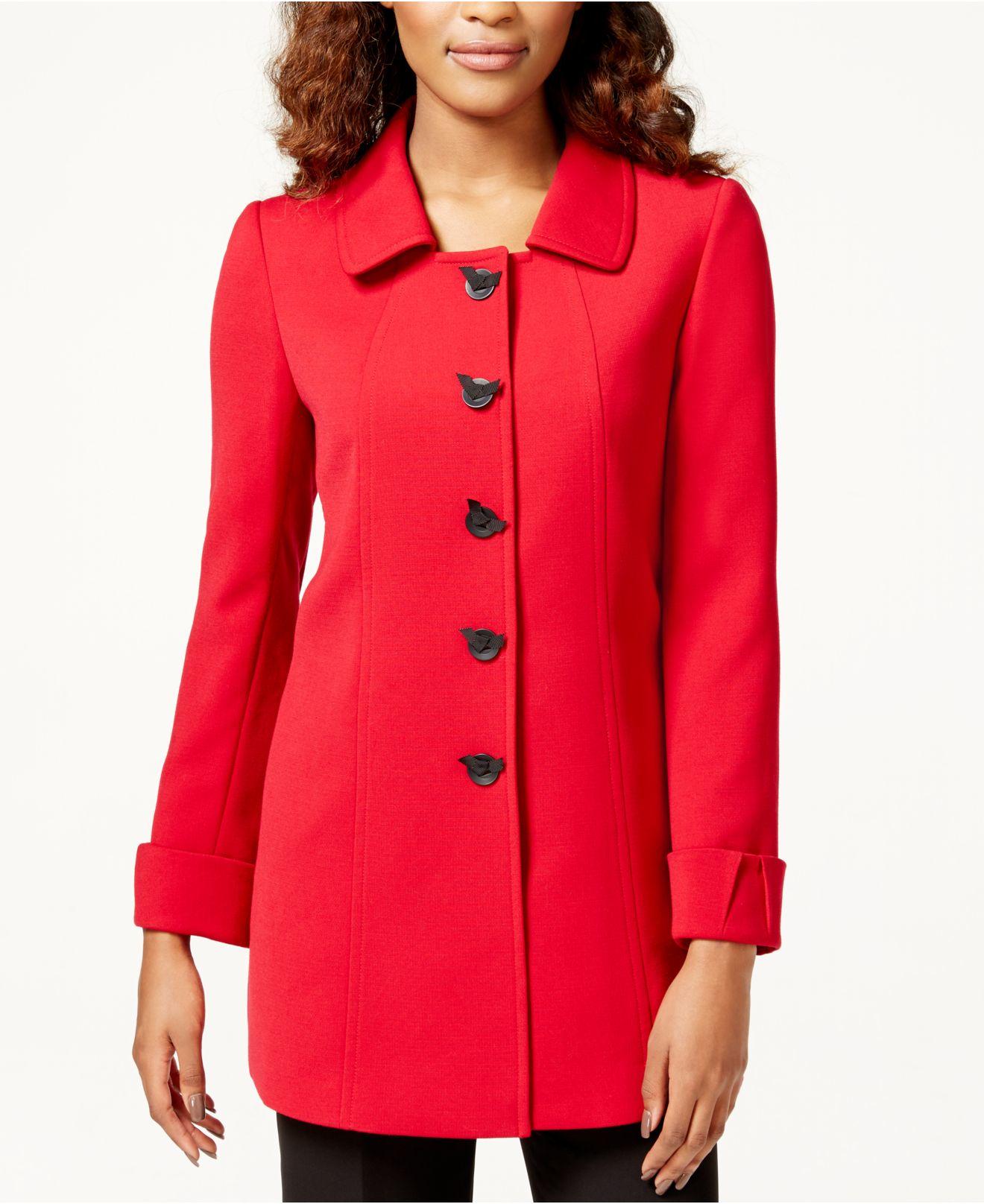 Tahari 5-button Ponte Car Coat in Red | Lyst