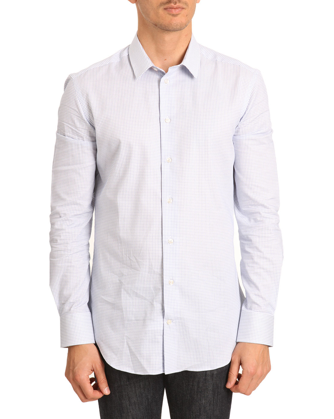 Armani Navy Slim Fit Shirt With Gingham Collar In Blue For