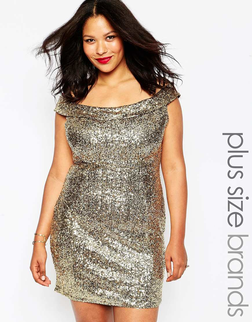Plus Size Bardot Dress In Sequins