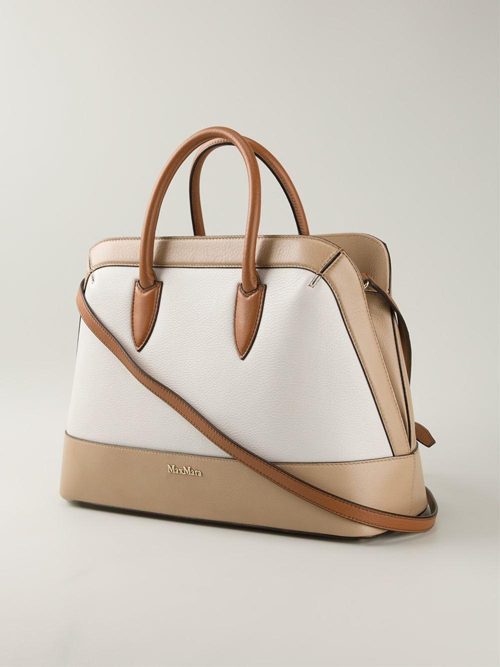 Lyst Max Mara Contrasting Panels Tote Bag In Brown