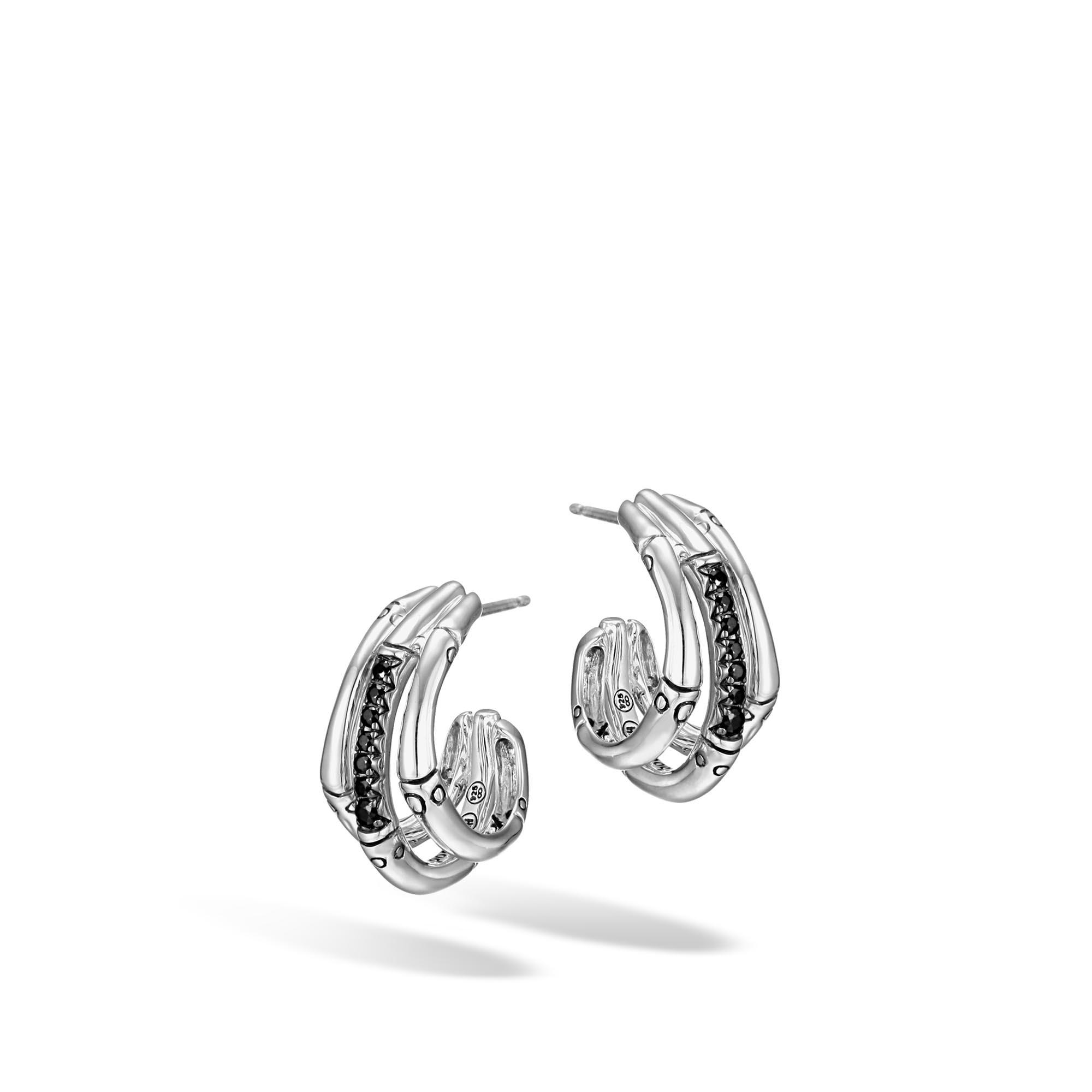 Lyst john hardy bamboo small j hoop earring in silver for John hardy jewelry earrings