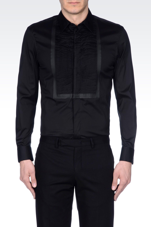 Emporio Armani Tuxedo Shirt With Pleated Plastron In Black
