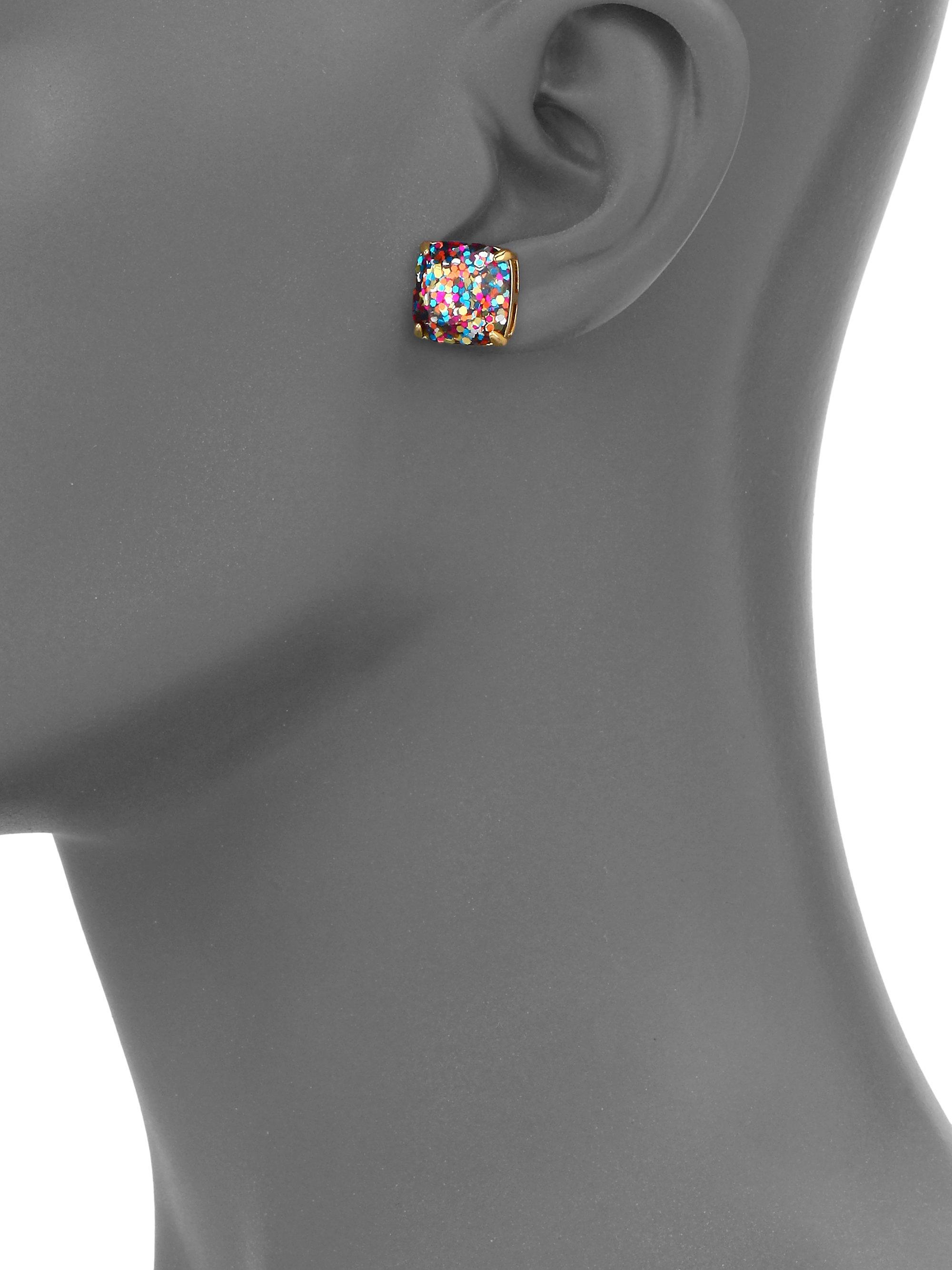 e22aea99e Kate Spade Glitter Square Stud Earrings/Multicolor in Metallic - Lyst