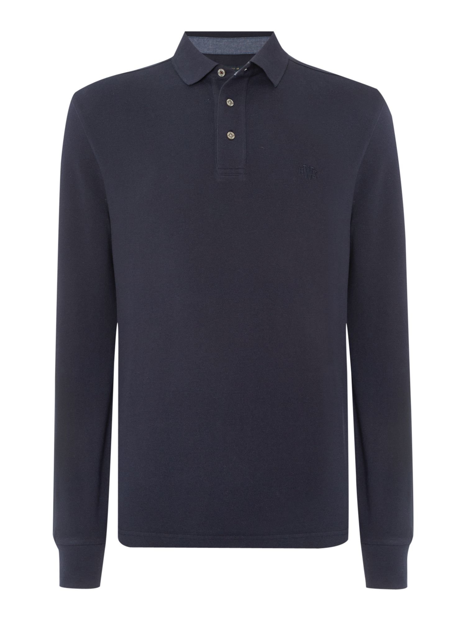 Howick paxton plain pique long sleeve polo shirt in blue for Plain navy polo shirts