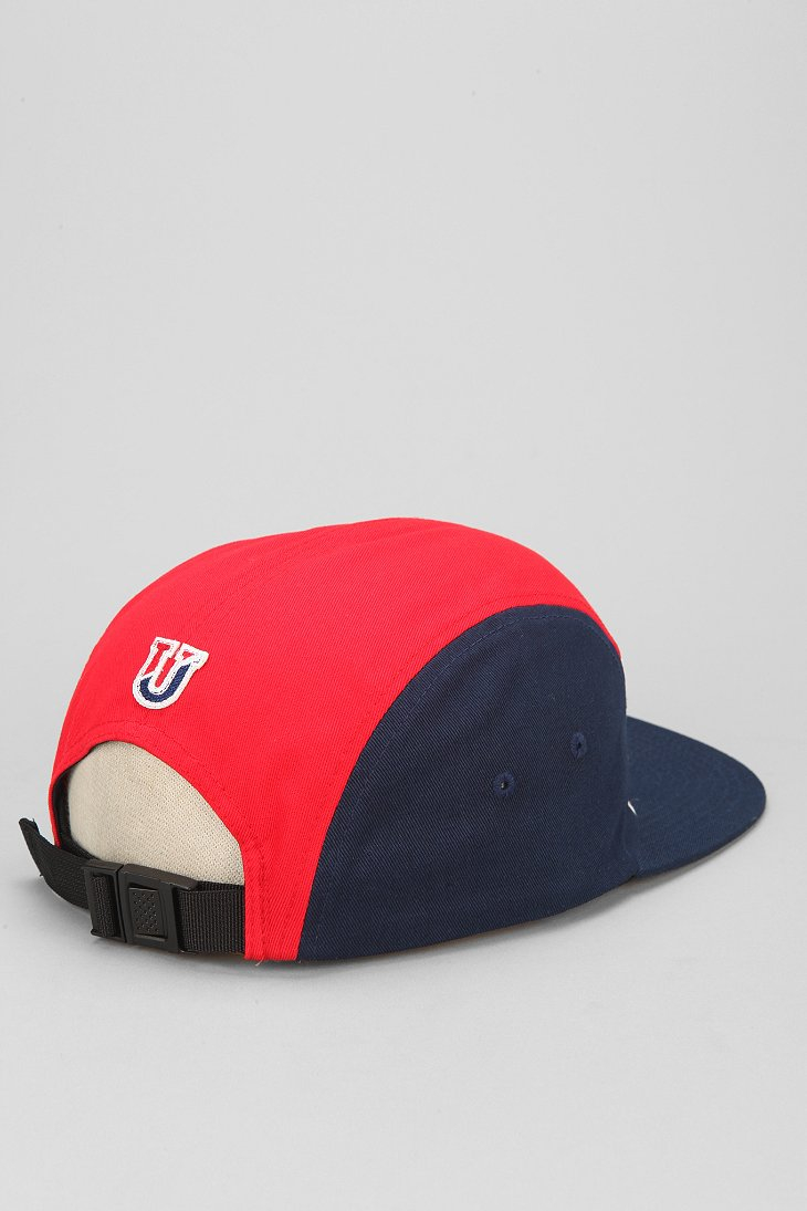 undefeated international colorblock 5panel hat in blue for