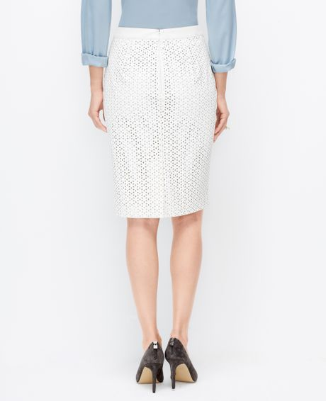 faux leather pencil skirt in white lyst