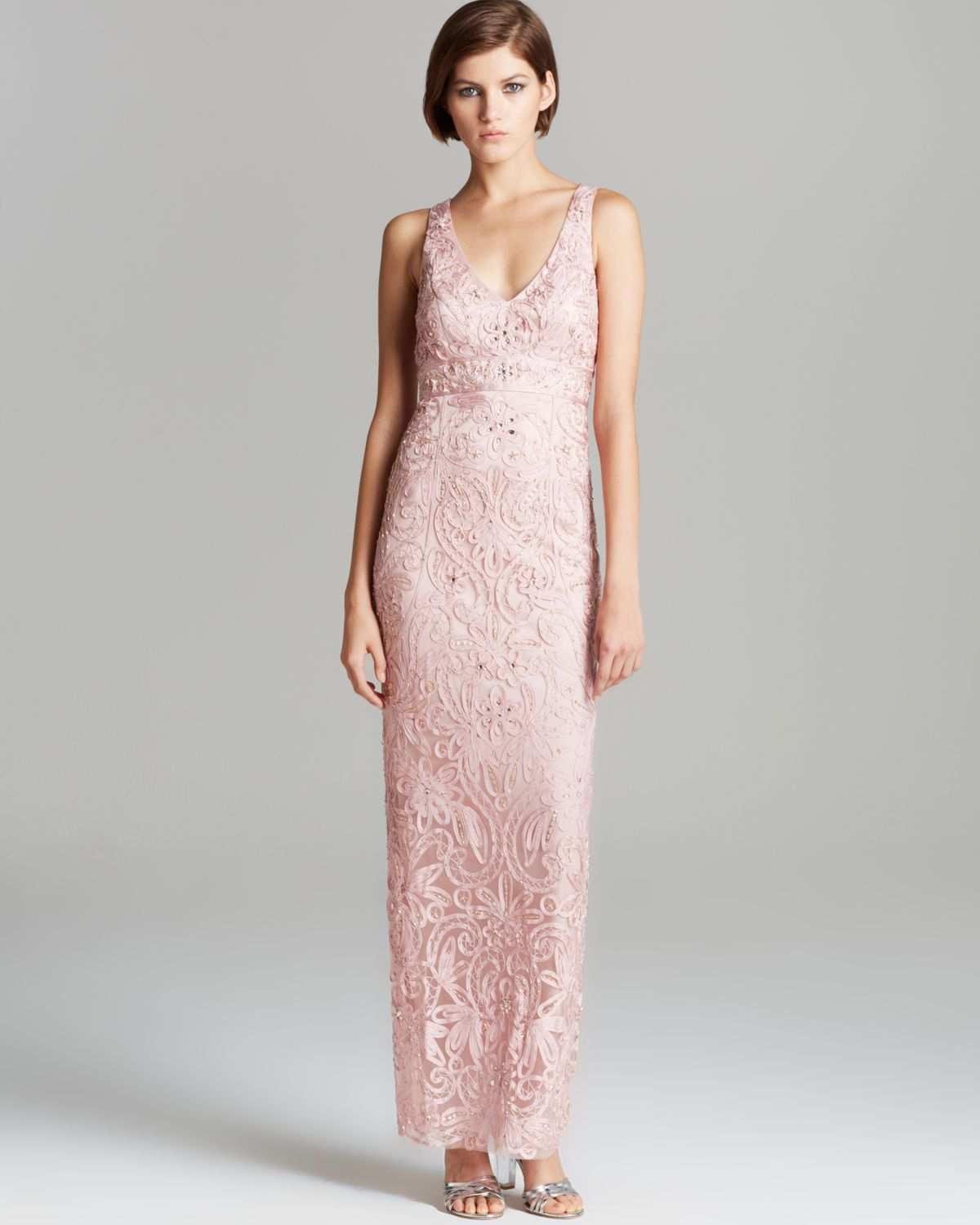 9b4f1de585a Sue Wong V Neck Gown - Sleeveless in Pink - Lyst