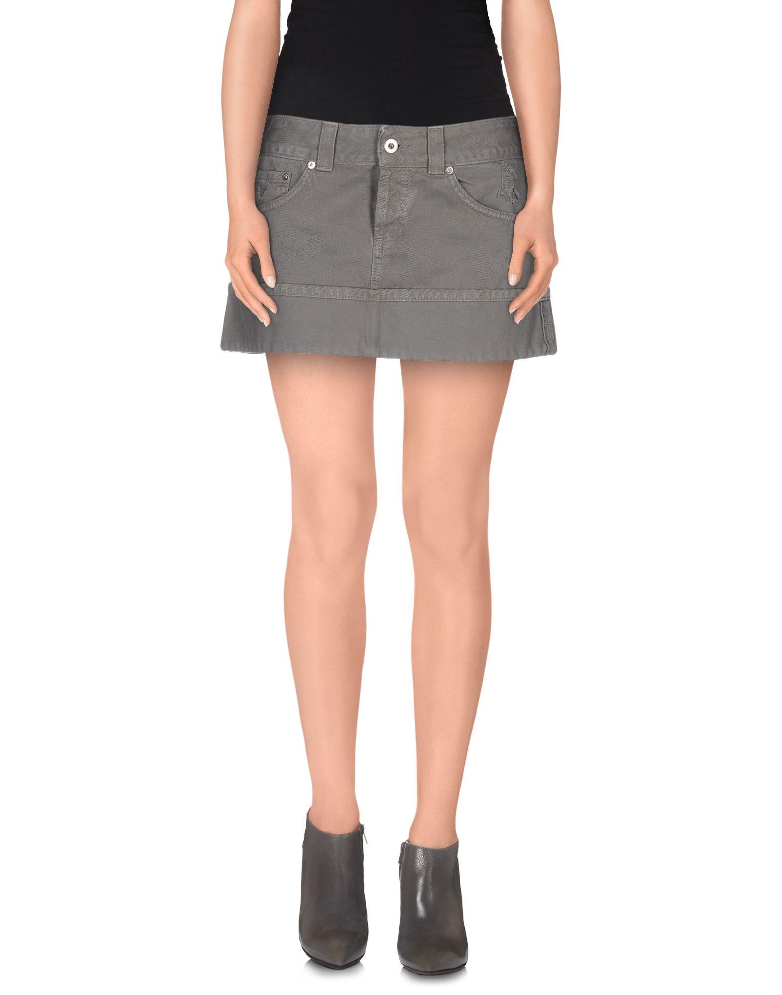 dondup denim skirt in gray lyst