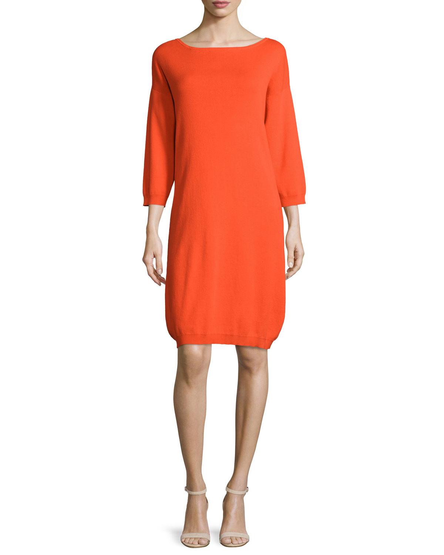 Joan Vass 3/4-sleeve Cotton Dress In Orange