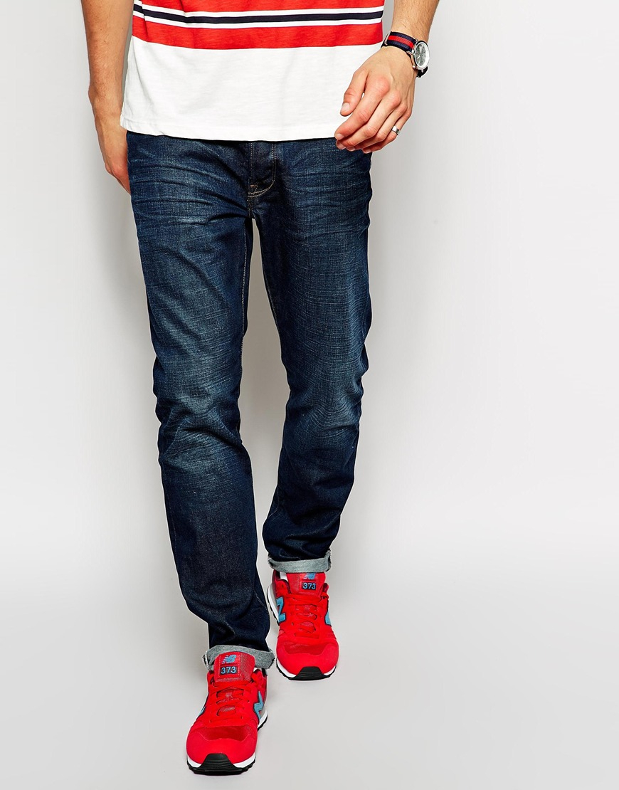 paul smith dark wash jeans in tapered fit in blue for men lyst. Black Bedroom Furniture Sets. Home Design Ideas