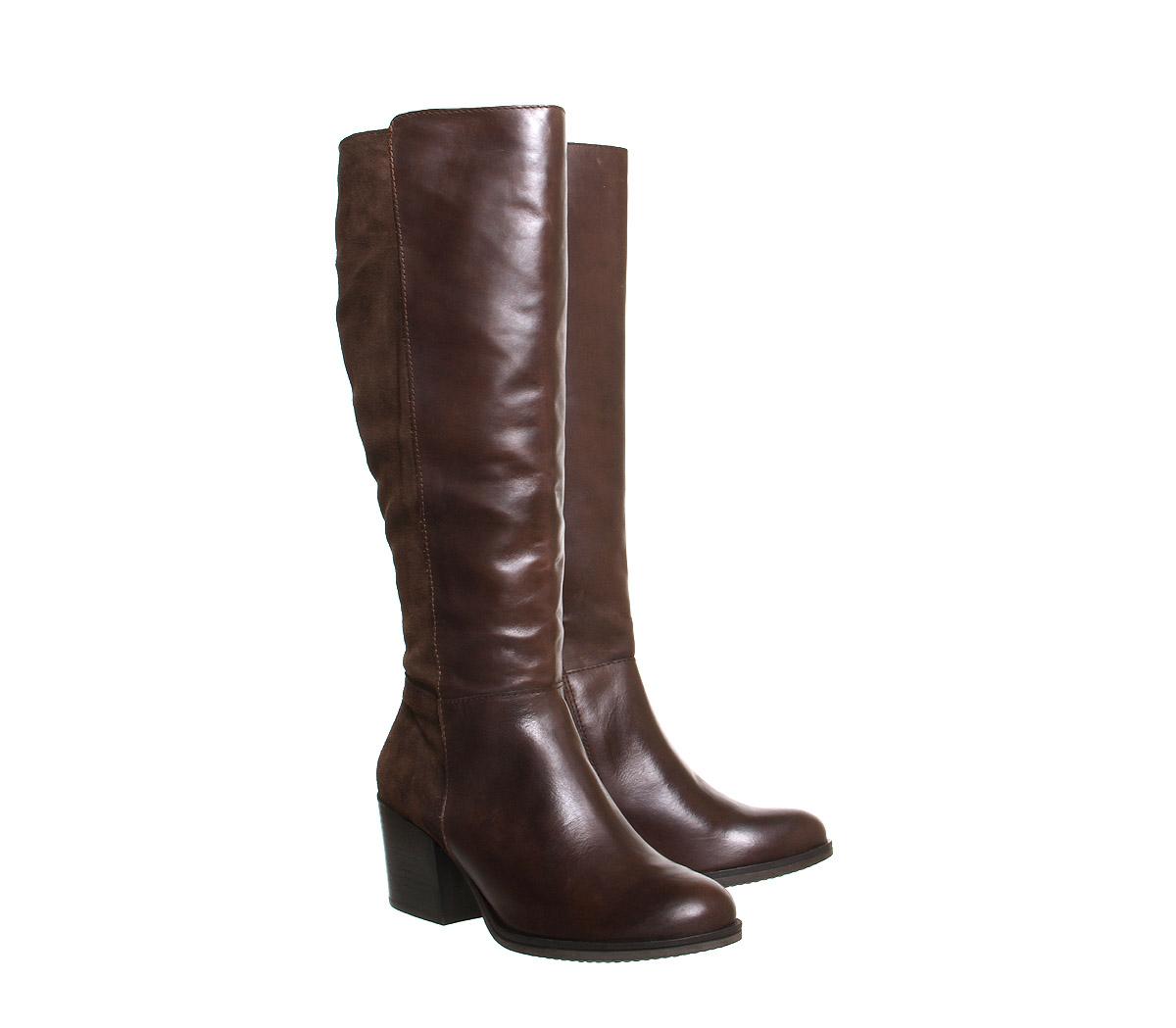 office northcote block heel knee boots in brown lyst