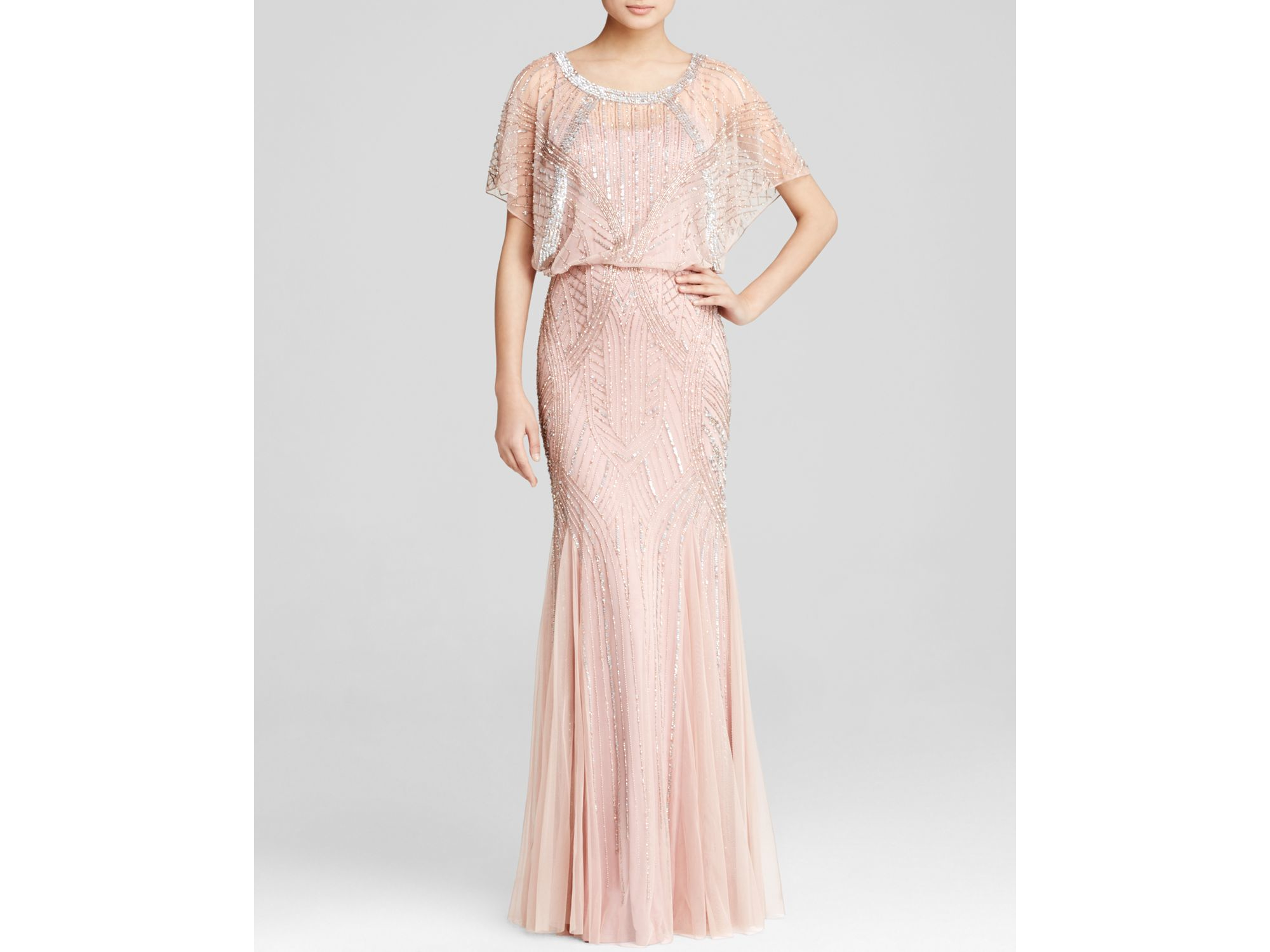Lyst - Aidan Mattox Gown - Short Sleeve Beaded Godet in Pink