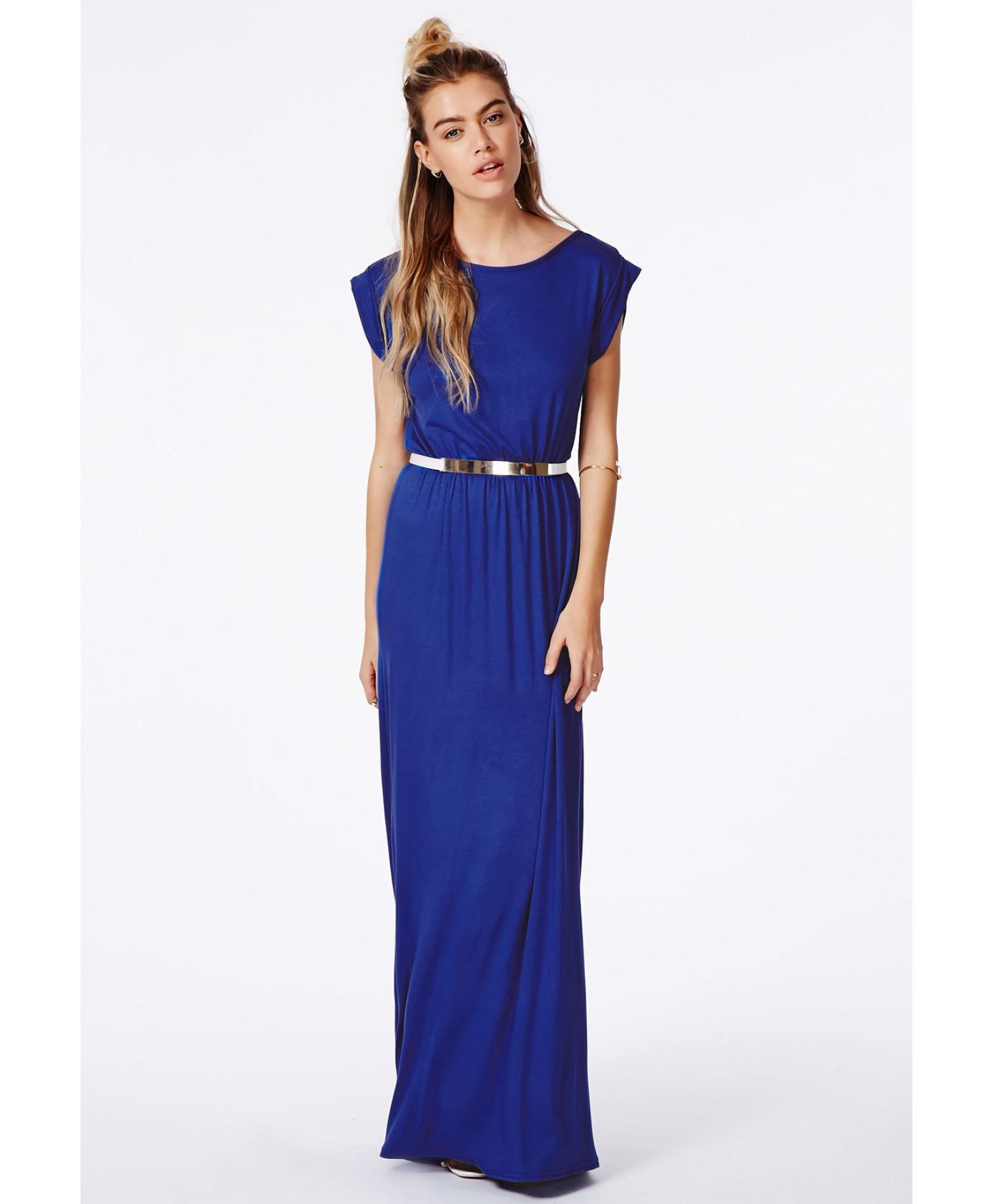 Black black t shirt maxi dress - Missguided Abelie Cobalt Blue T Shirt Maxi Dress In Blue Lyst